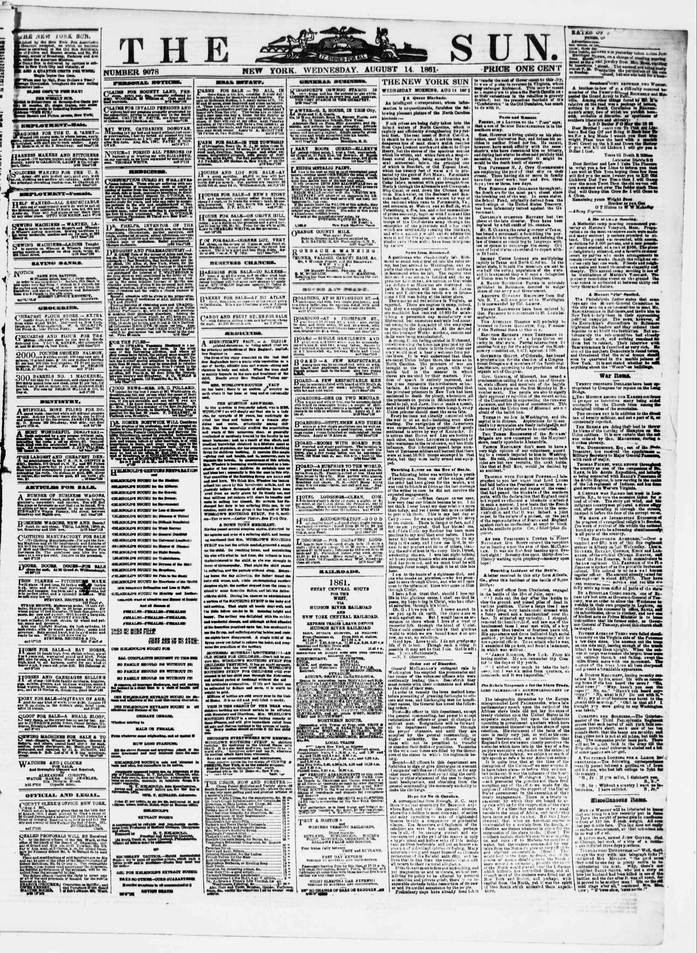 Newspaper of The Sun dated 14 Ağustos 1861 Page 1