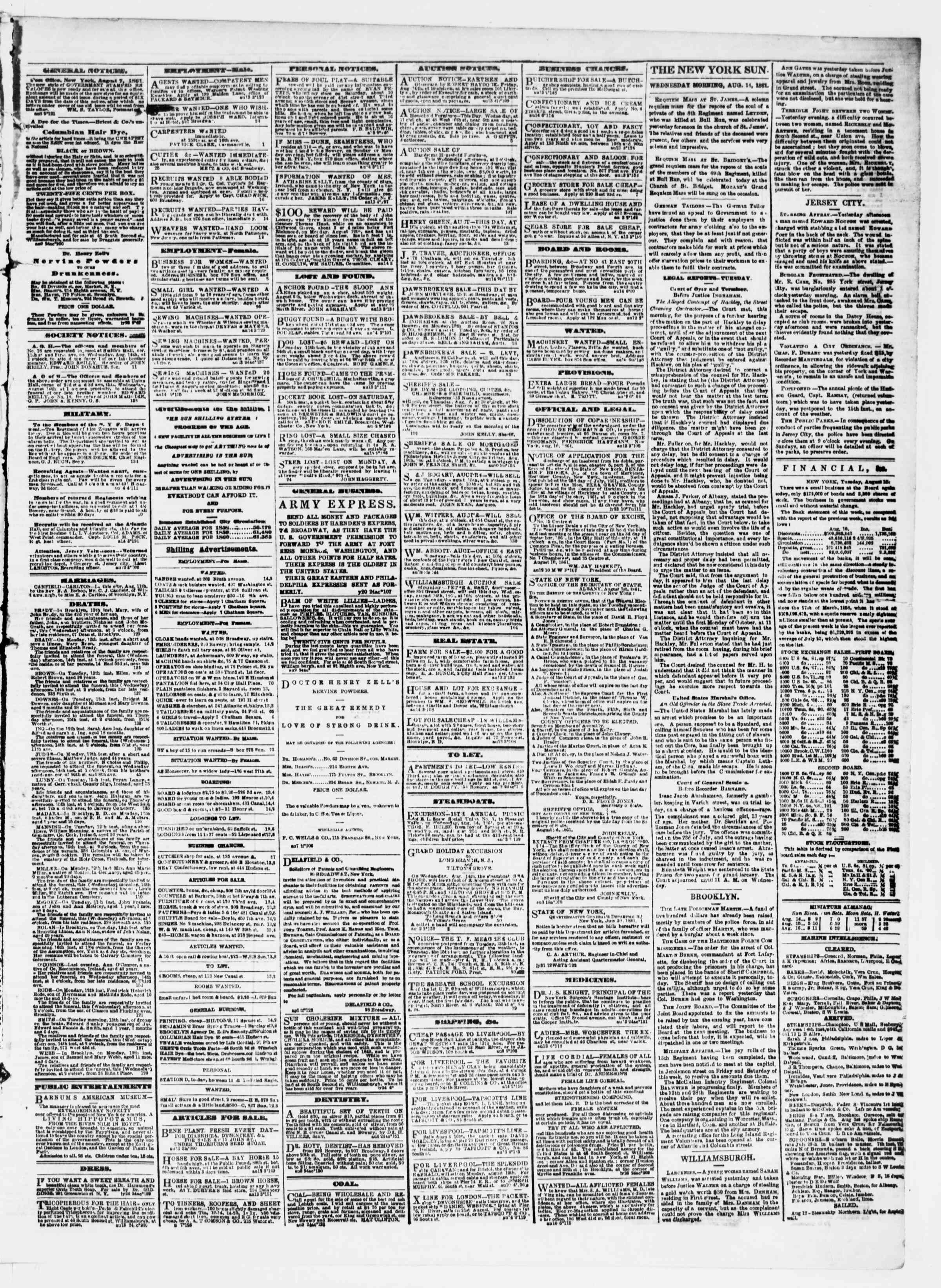 Newspaper of The Sun dated August 14, 1861 Page 3