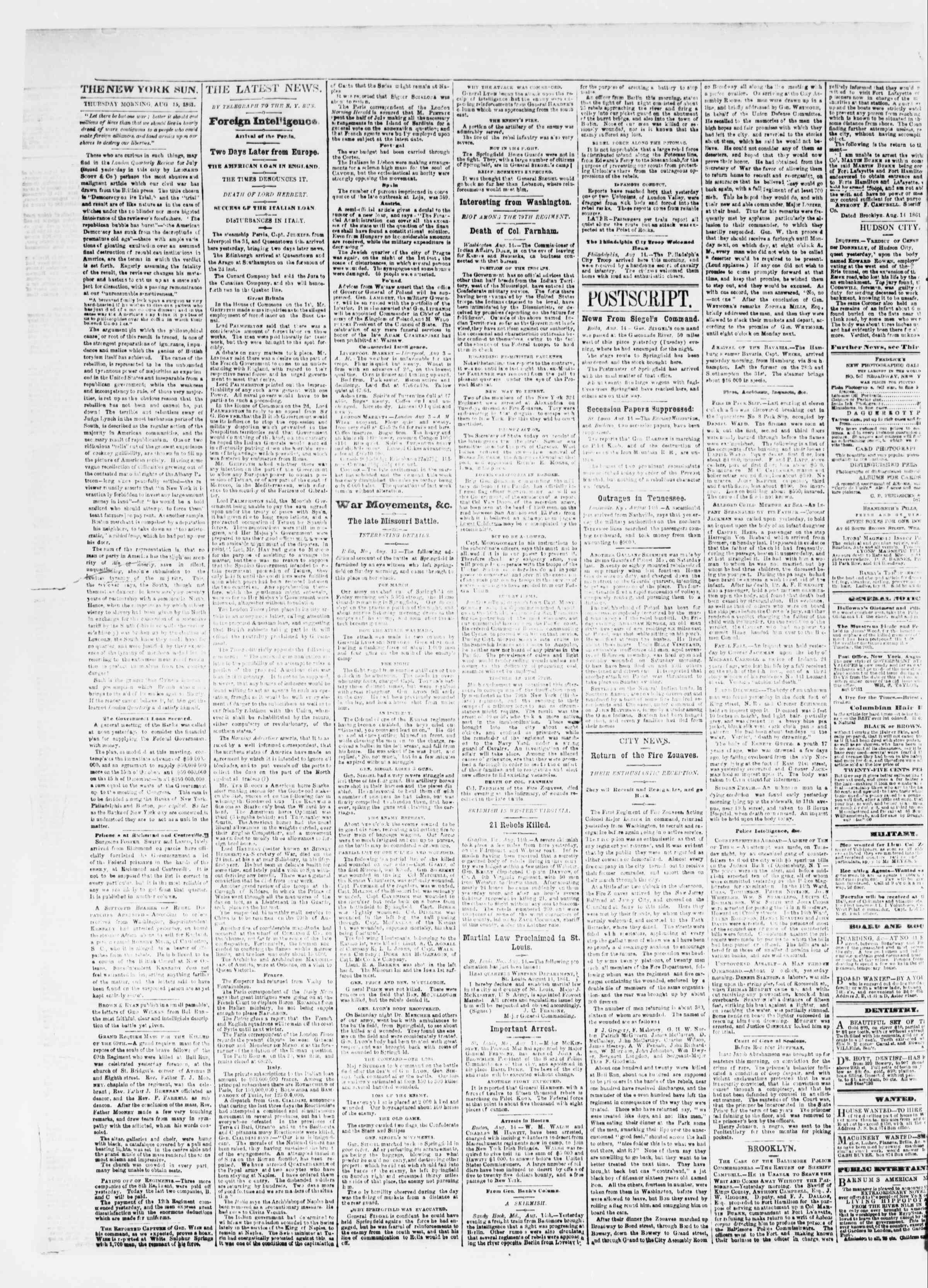 Newspaper of The Sun dated August 15, 1861 Page 2