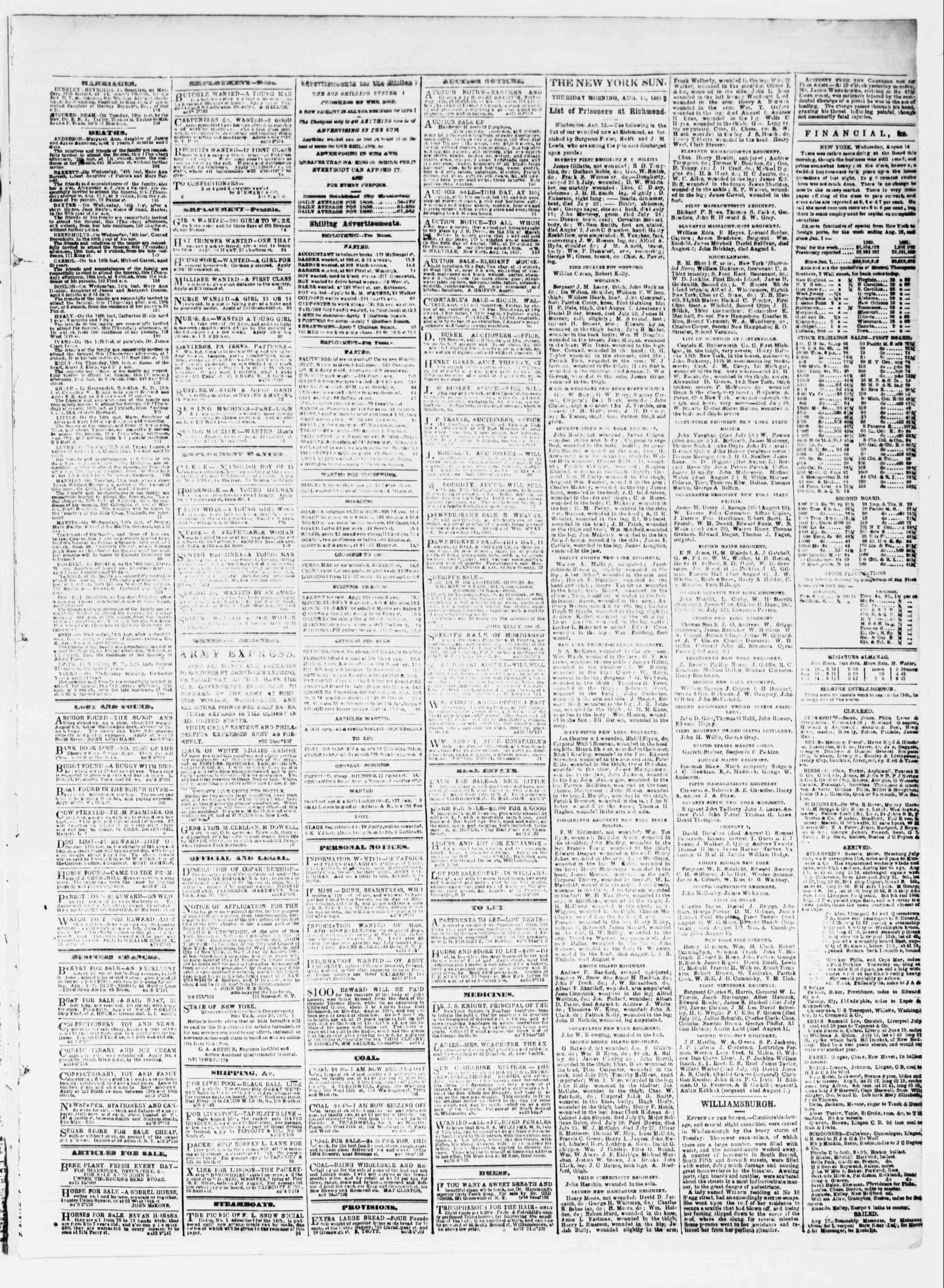 Newspaper of The Sun dated August 15, 1861 Page 3