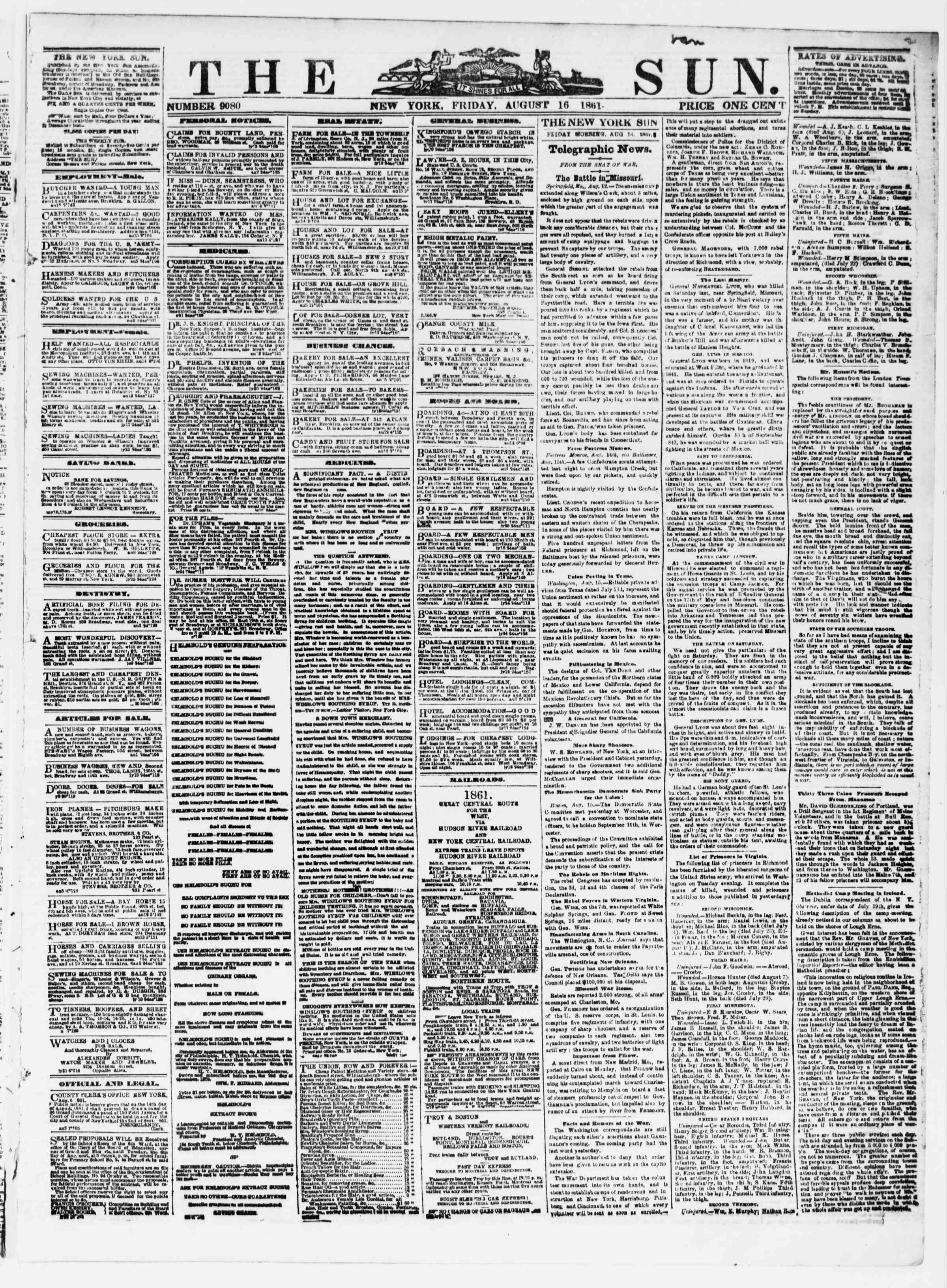Newspaper of The Sun dated August 16, 1861 Page 1