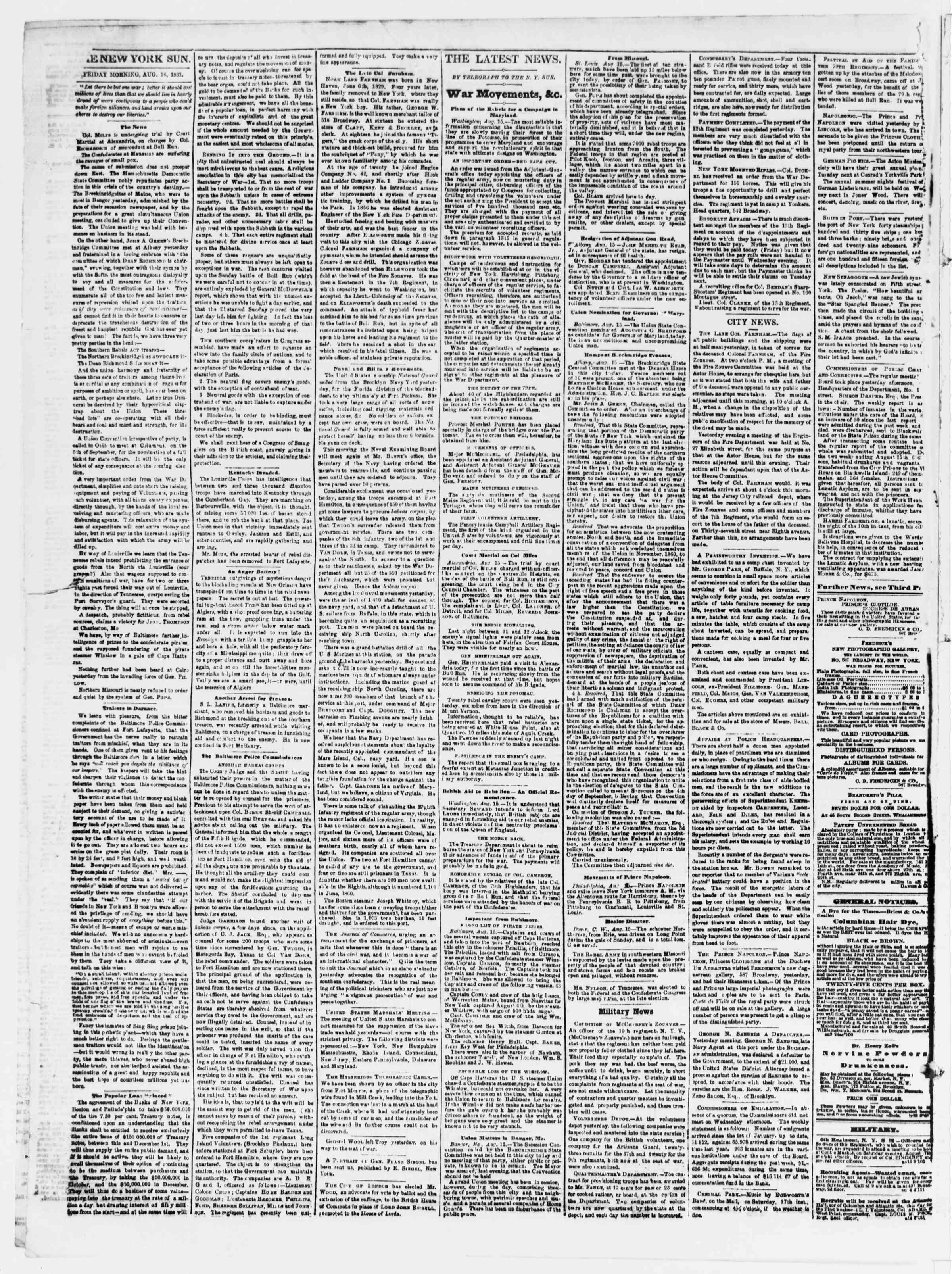 Newspaper of The Sun dated August 16, 1861 Page 2