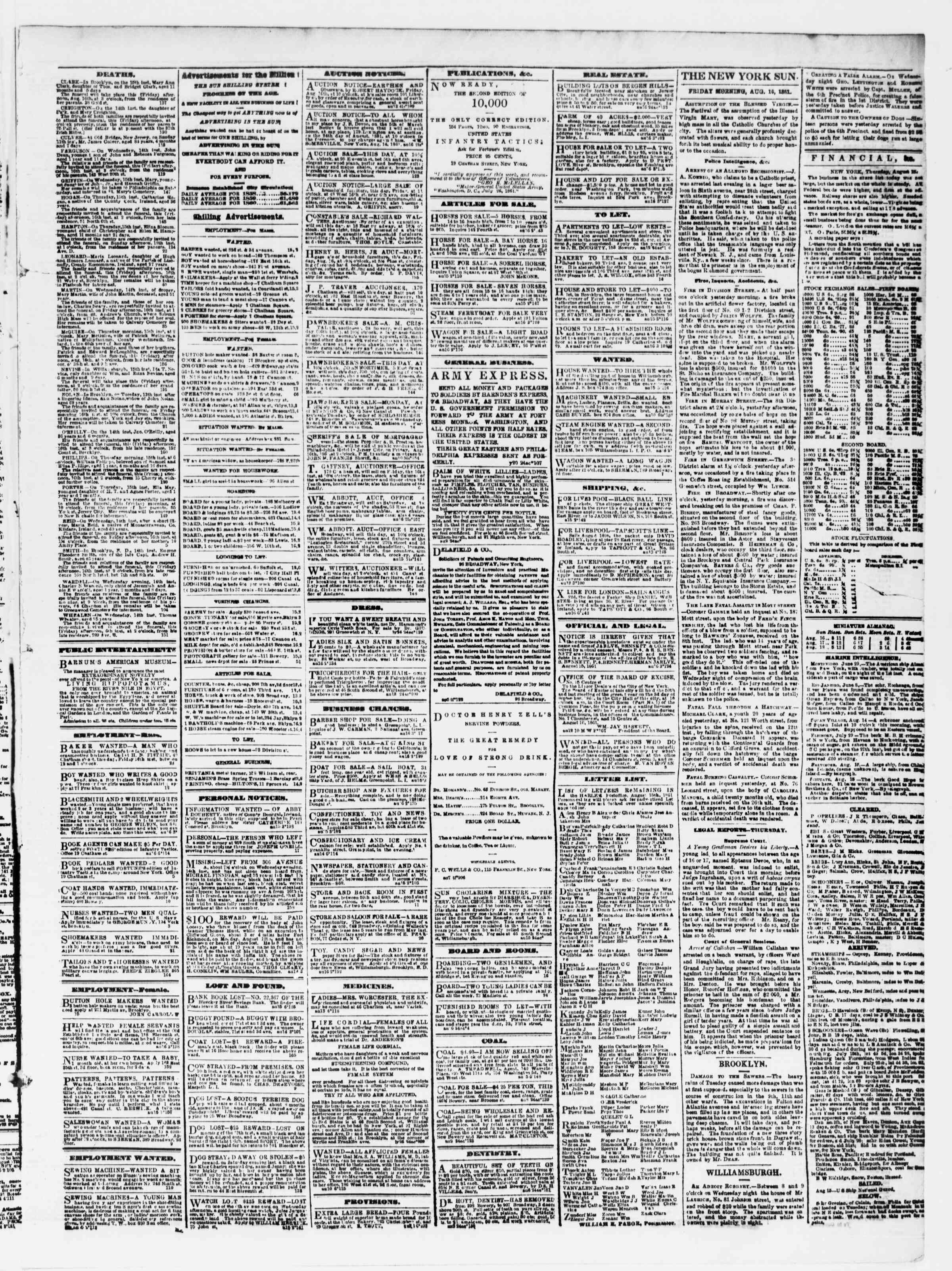 Newspaper of The Sun dated August 16, 1861 Page 3