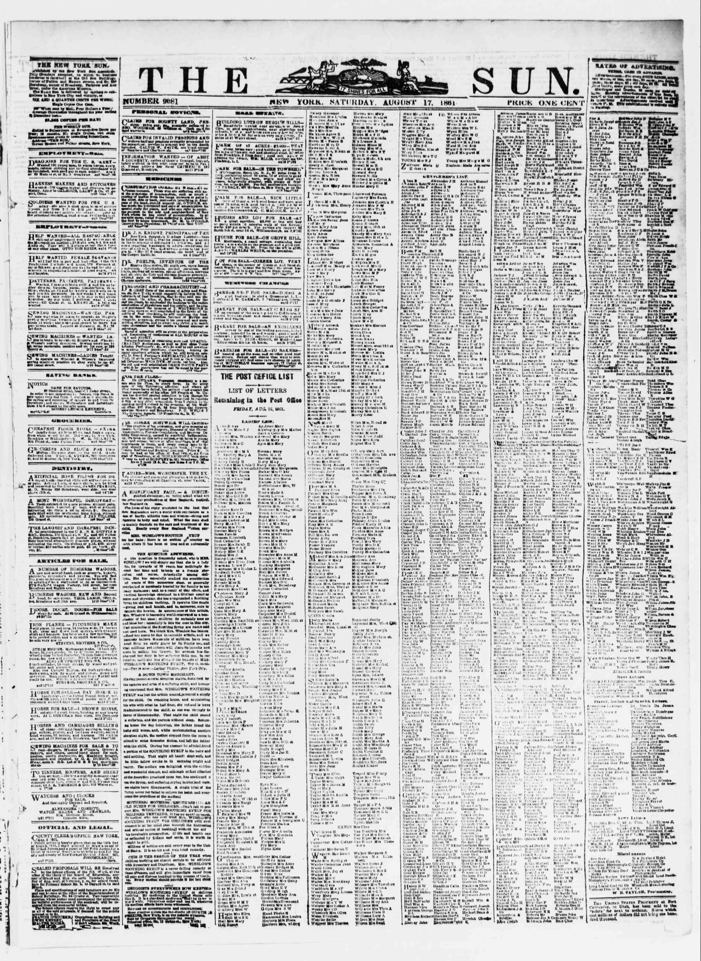 Newspaper of The Sun dated August 17, 1861 Page 1