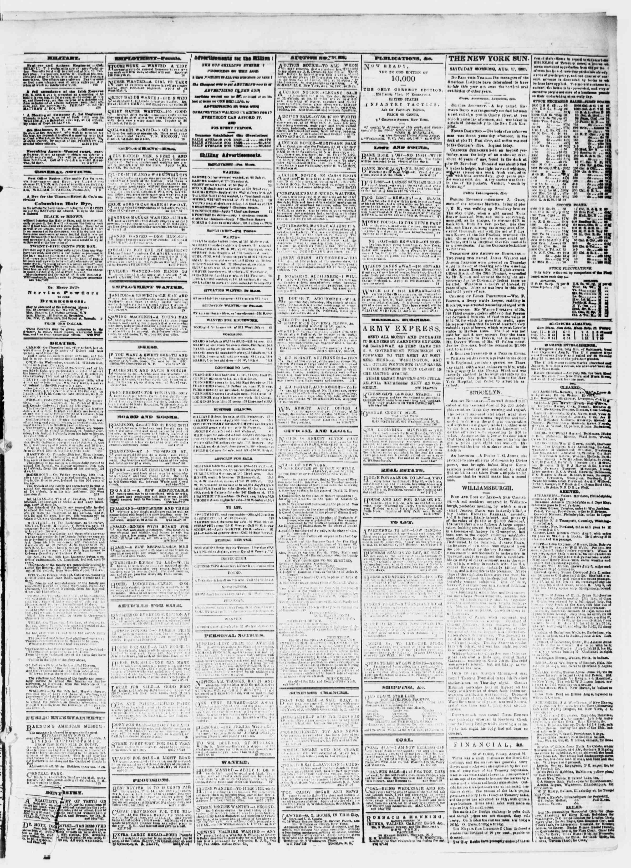 Newspaper of The Sun dated 17 Ağustos 1861 Page 3