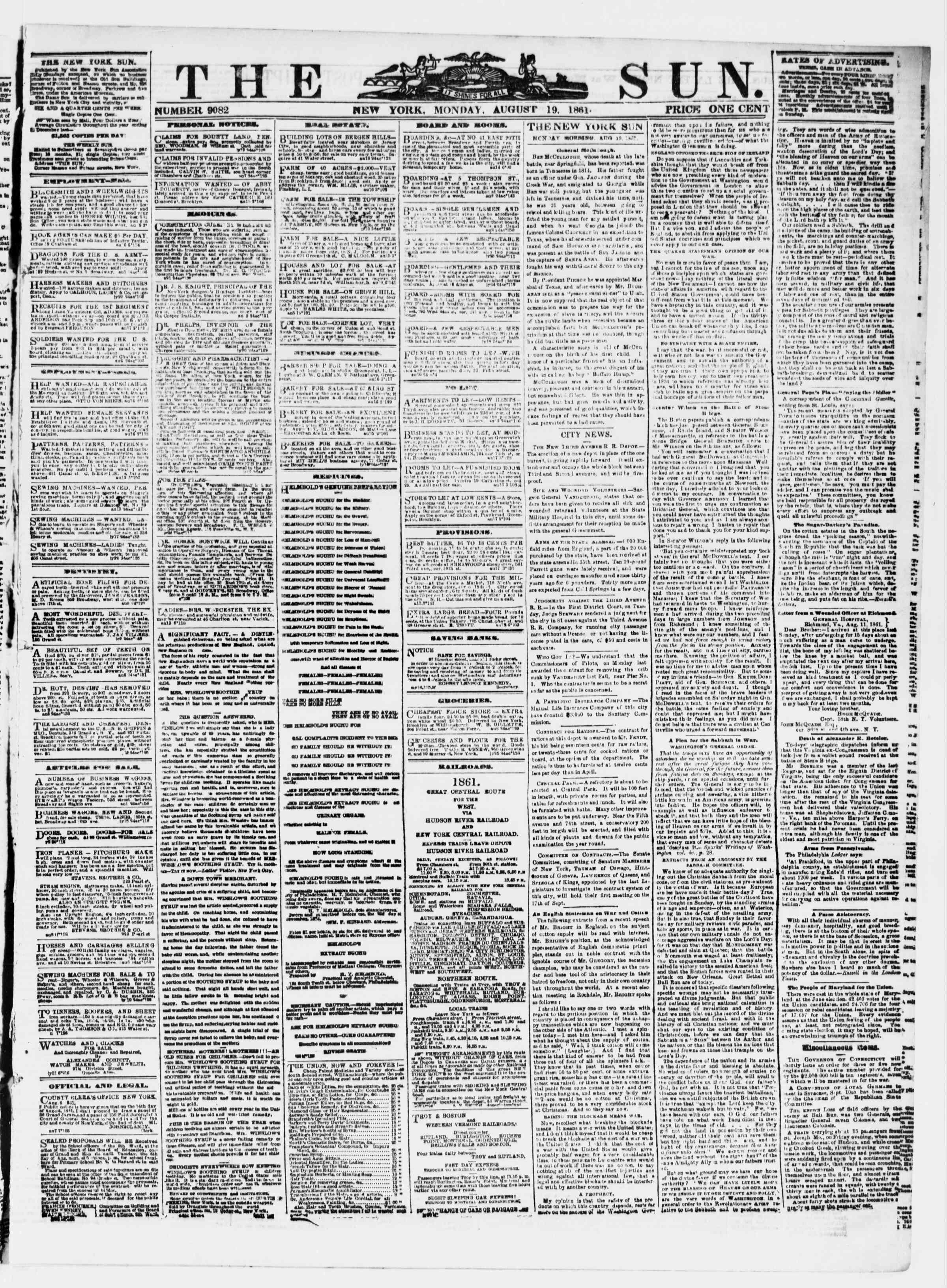Newspaper of The Sun dated August 19, 1861 Page 1
