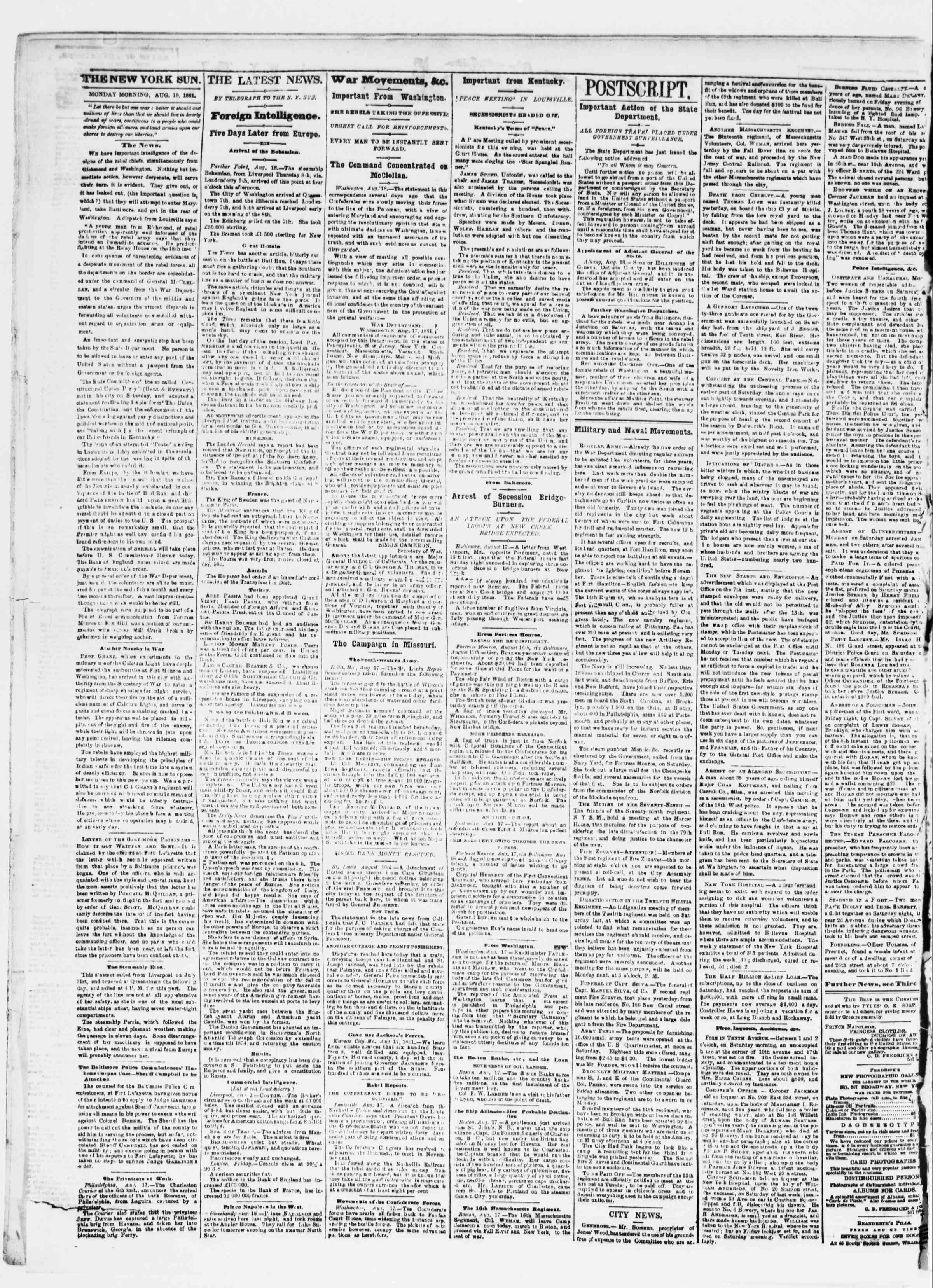 Newspaper of The Sun dated August 19, 1861 Page 2