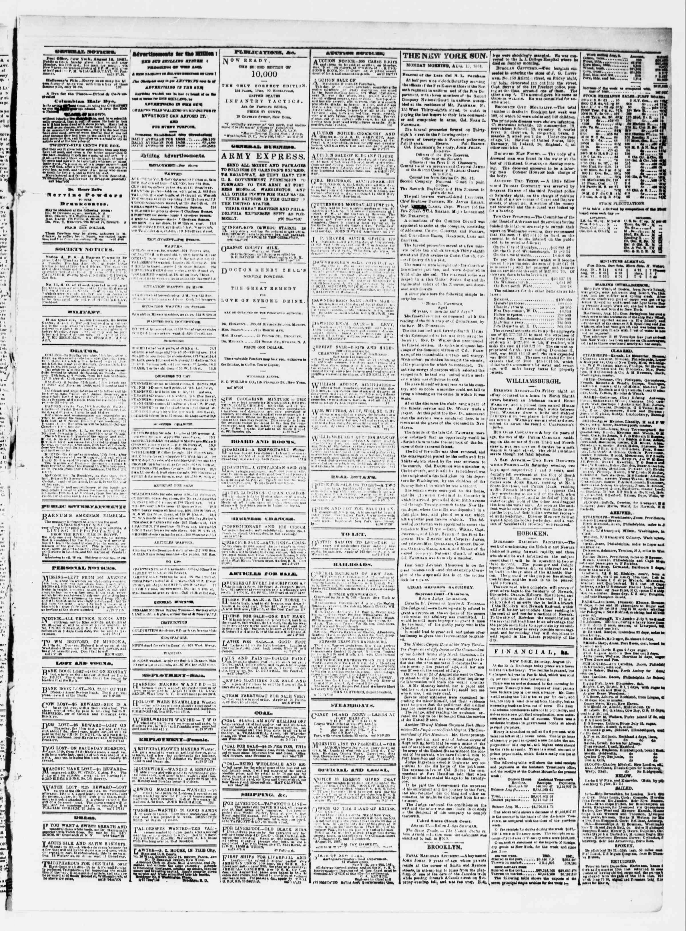 Newspaper of The Sun dated August 19, 1861 Page 3