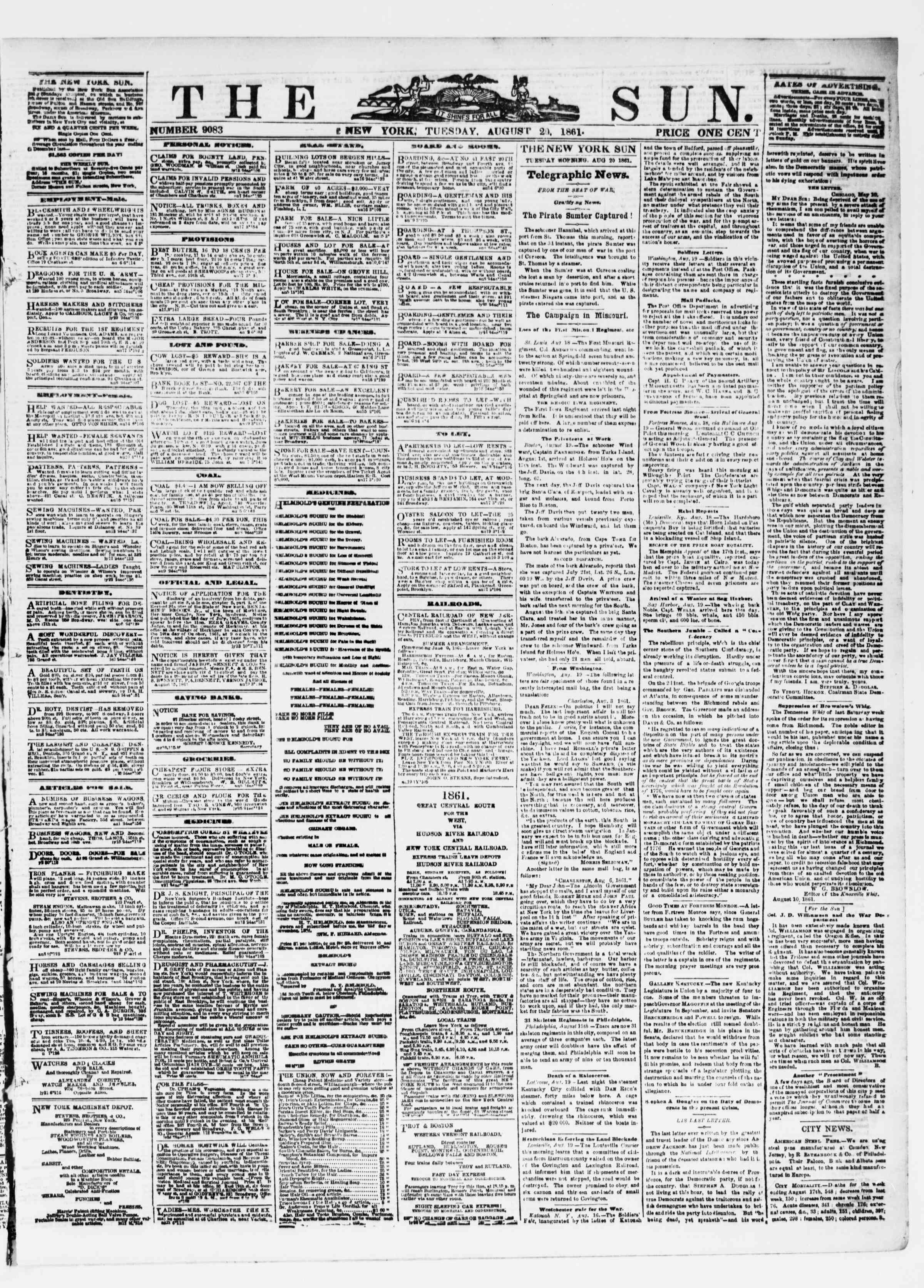 Newspaper of The Sun dated August 20, 1861 Page 1