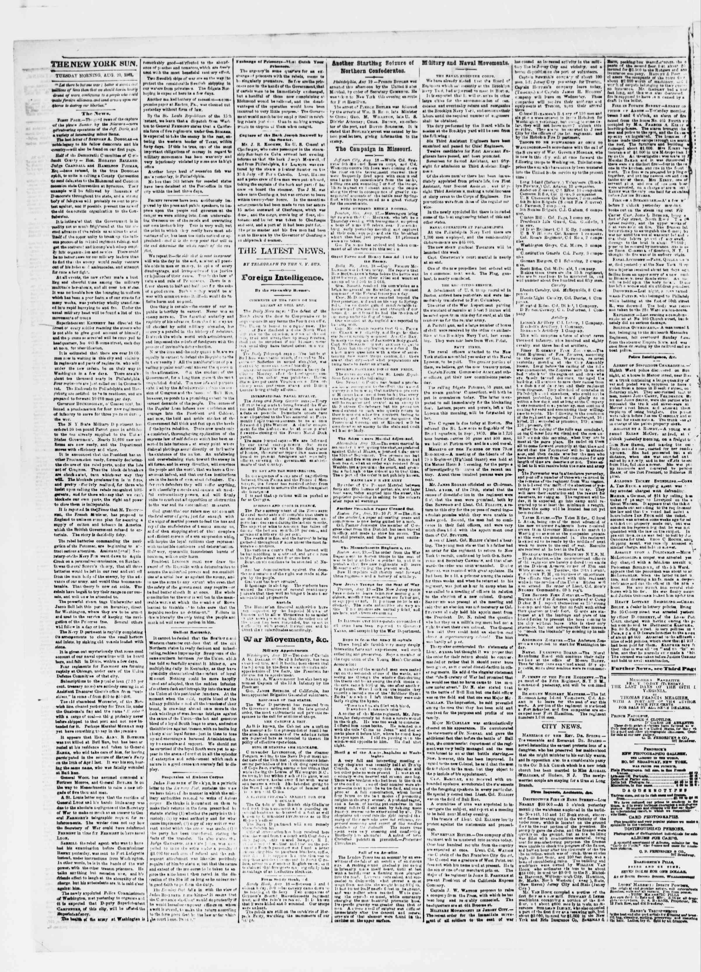 Newspaper of The Sun dated August 20, 1861 Page 2