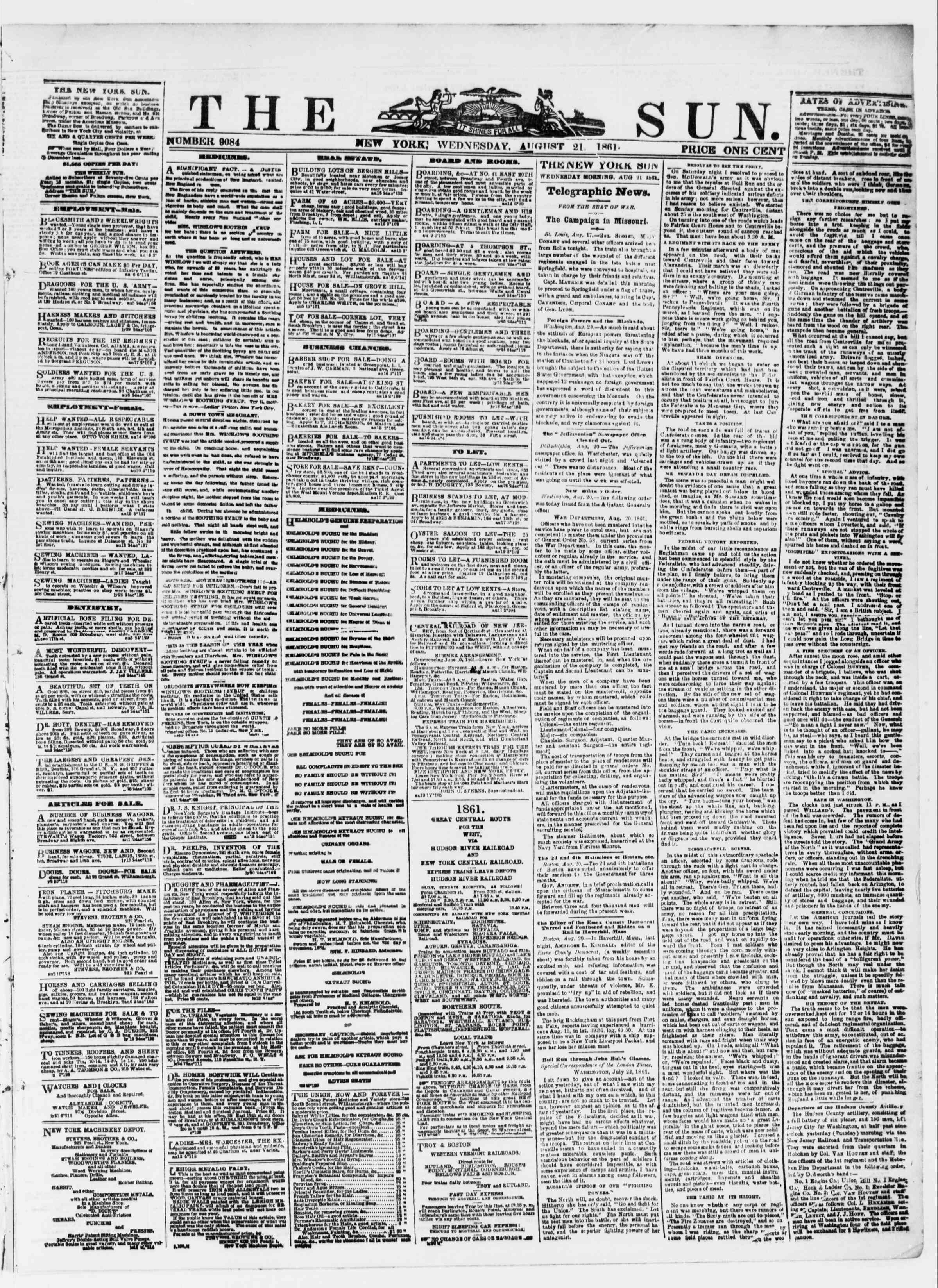 Newspaper of The Sun dated August 21, 1861 Page 1