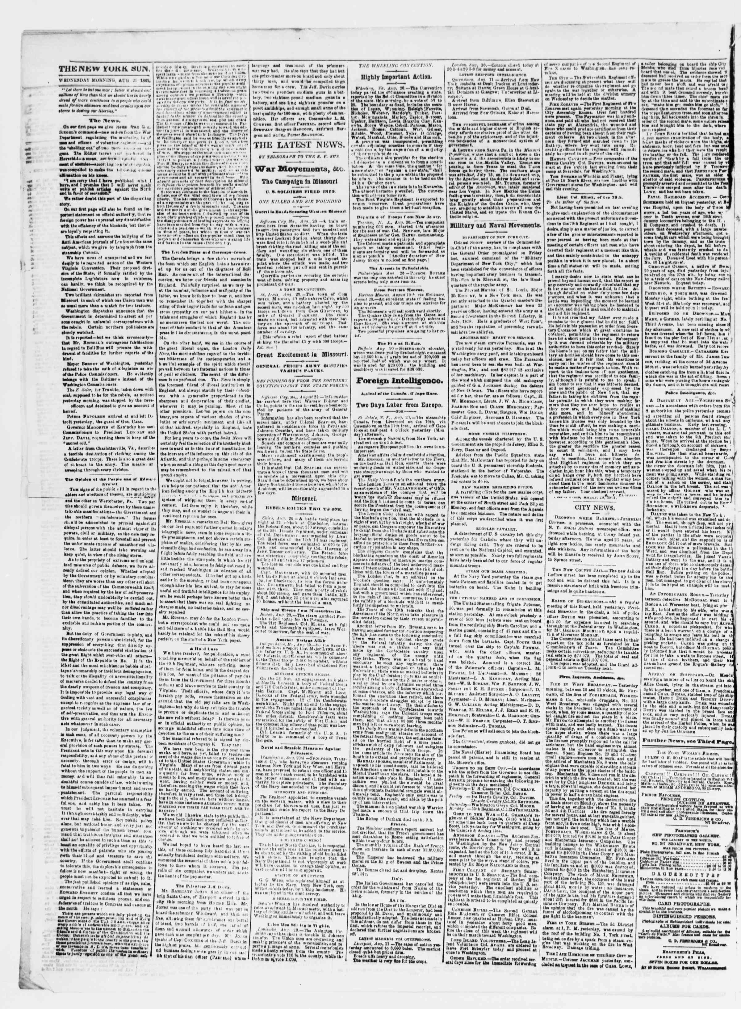 Newspaper of The Sun dated August 21, 1861 Page 2