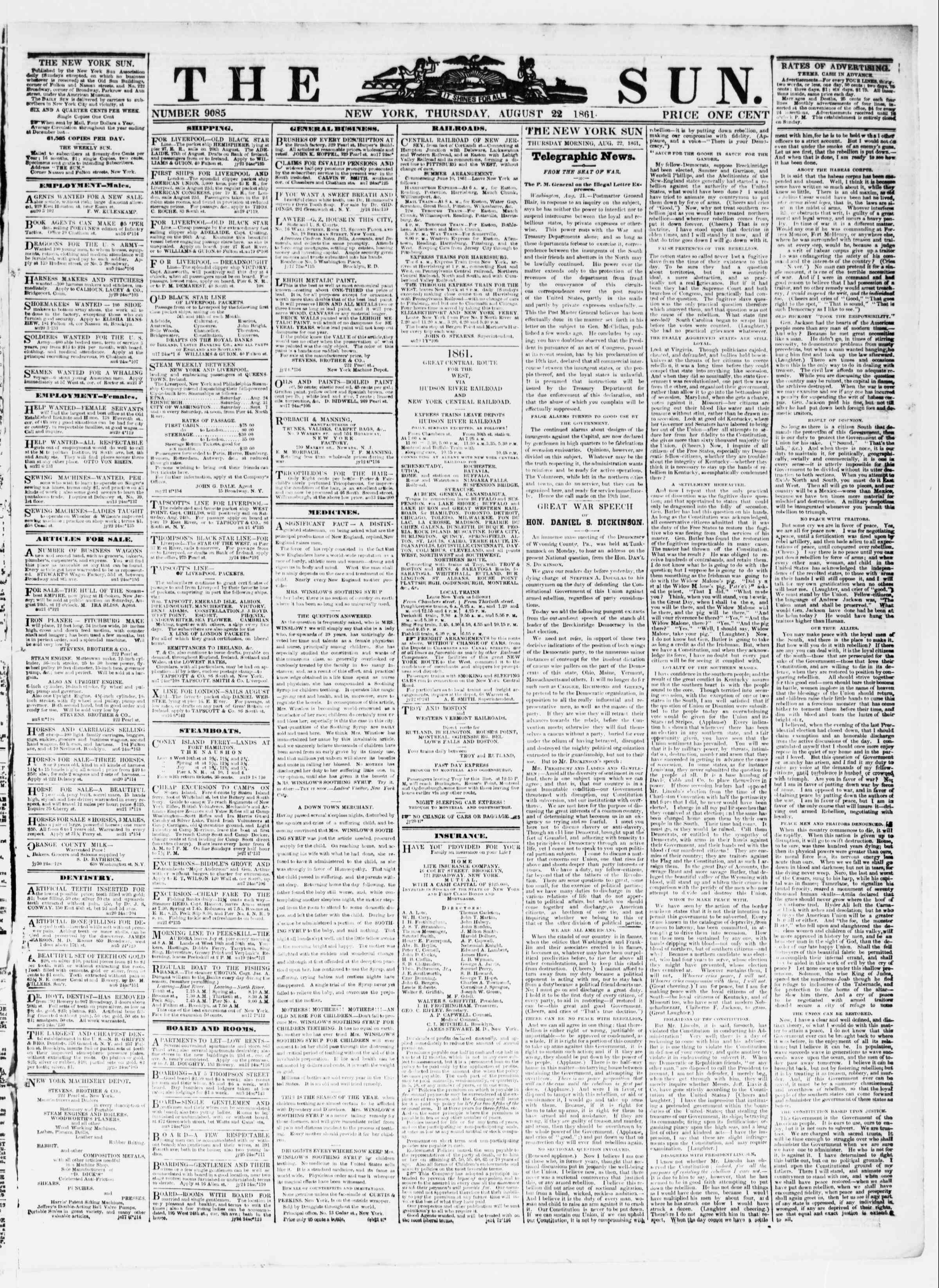 Newspaper of The Sun dated August 22, 1861 Page 1