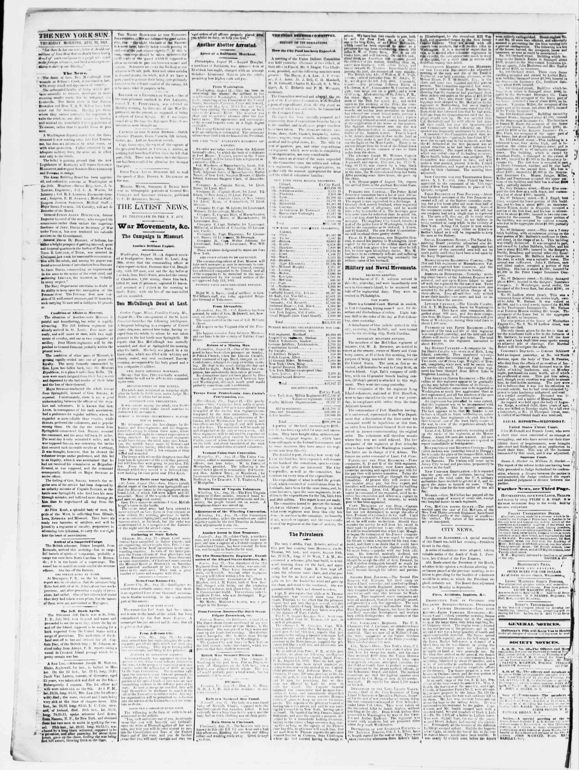 Newspaper of The Sun dated August 22, 1861 Page 2