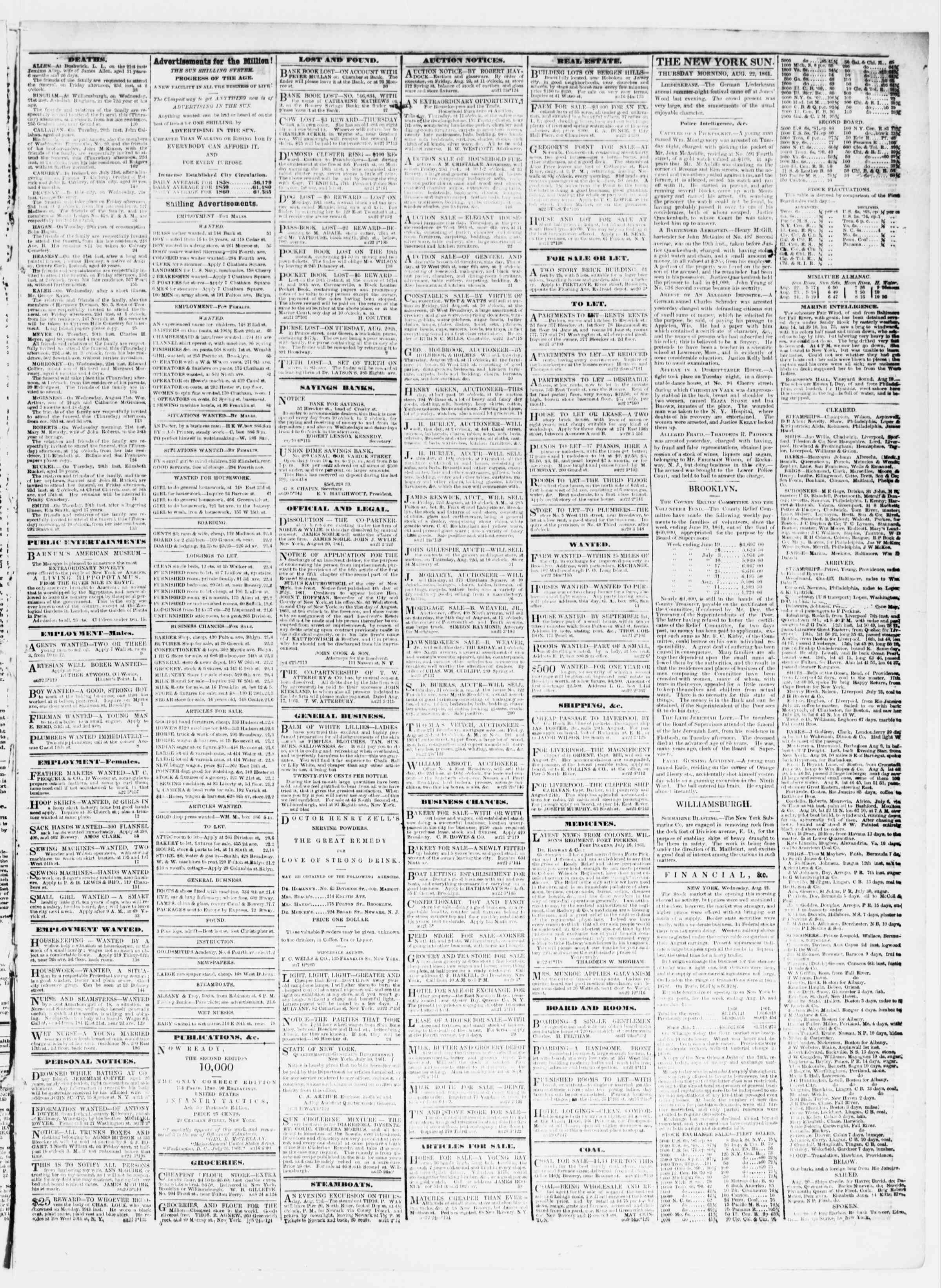 Newspaper of The Sun dated August 22, 1861 Page 3