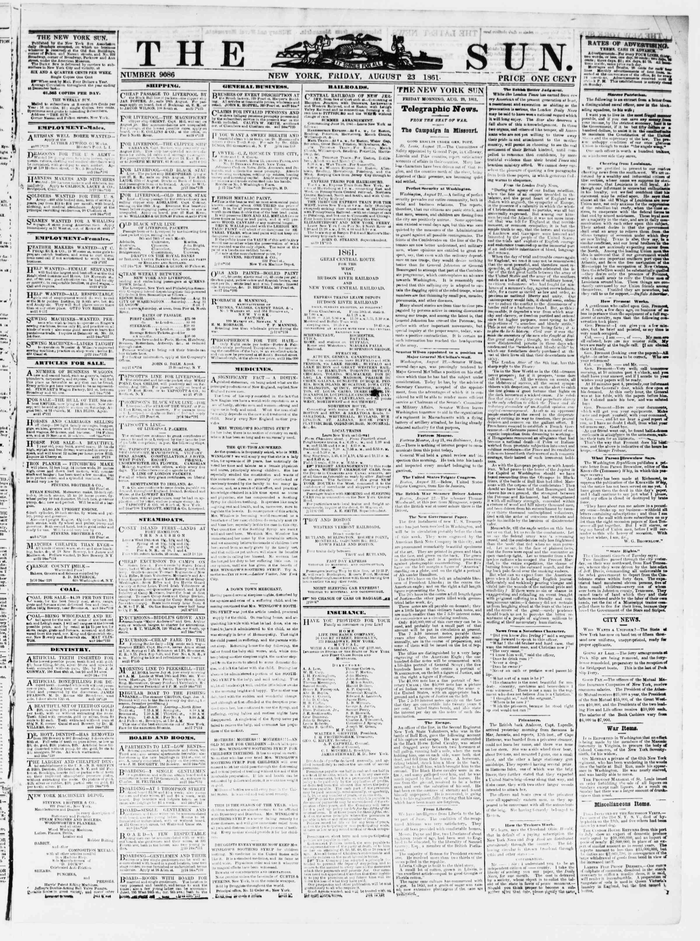 Newspaper of The Sun dated August 23, 1861 Page 1