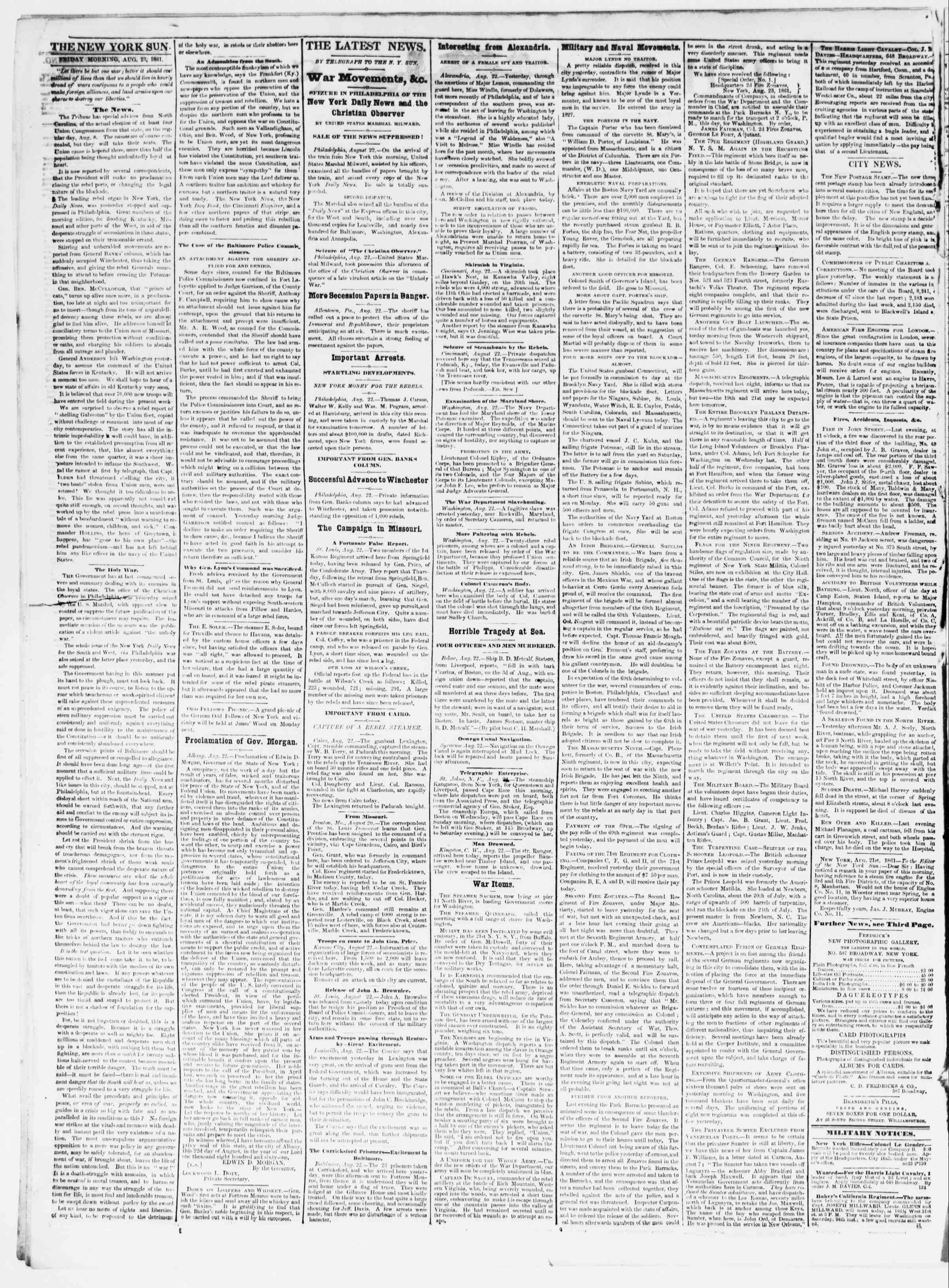 Newspaper of The Sun dated August 23, 1861 Page 2