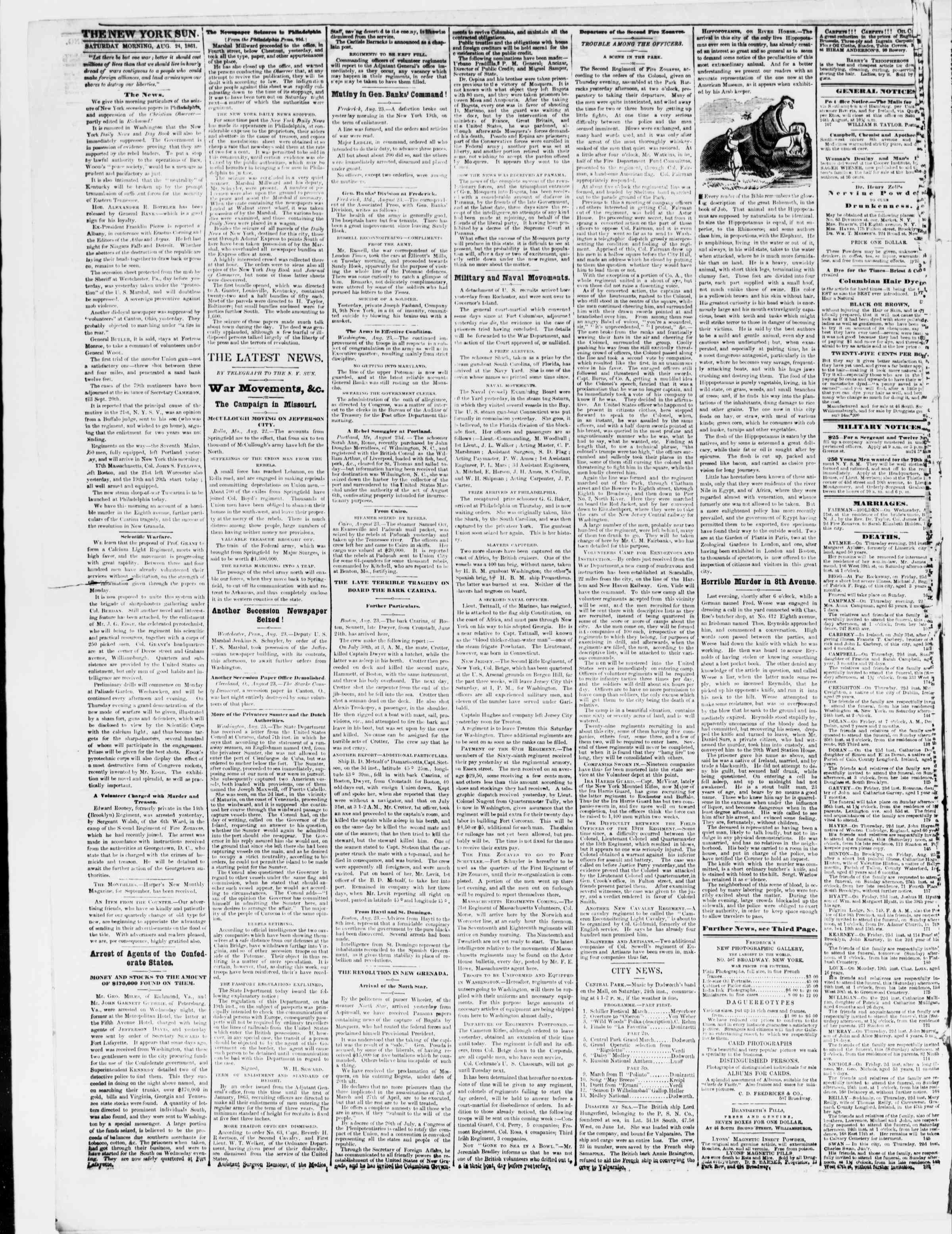 Newspaper of The Sun dated August 24, 1861 Page 2
