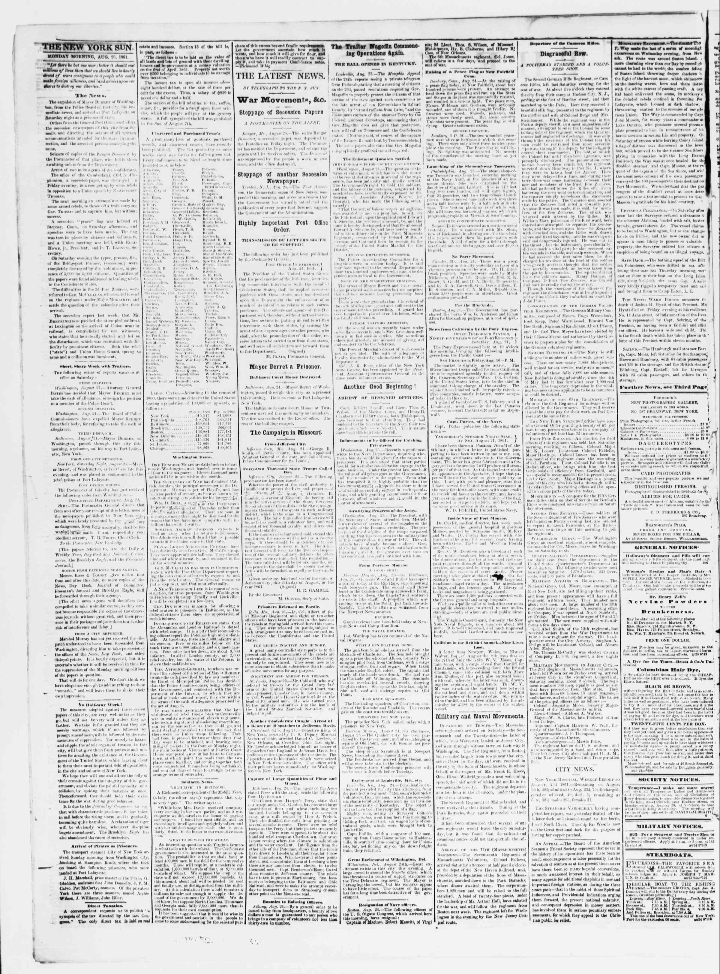 Newspaper of The Sun dated August 26, 1861 Page 2