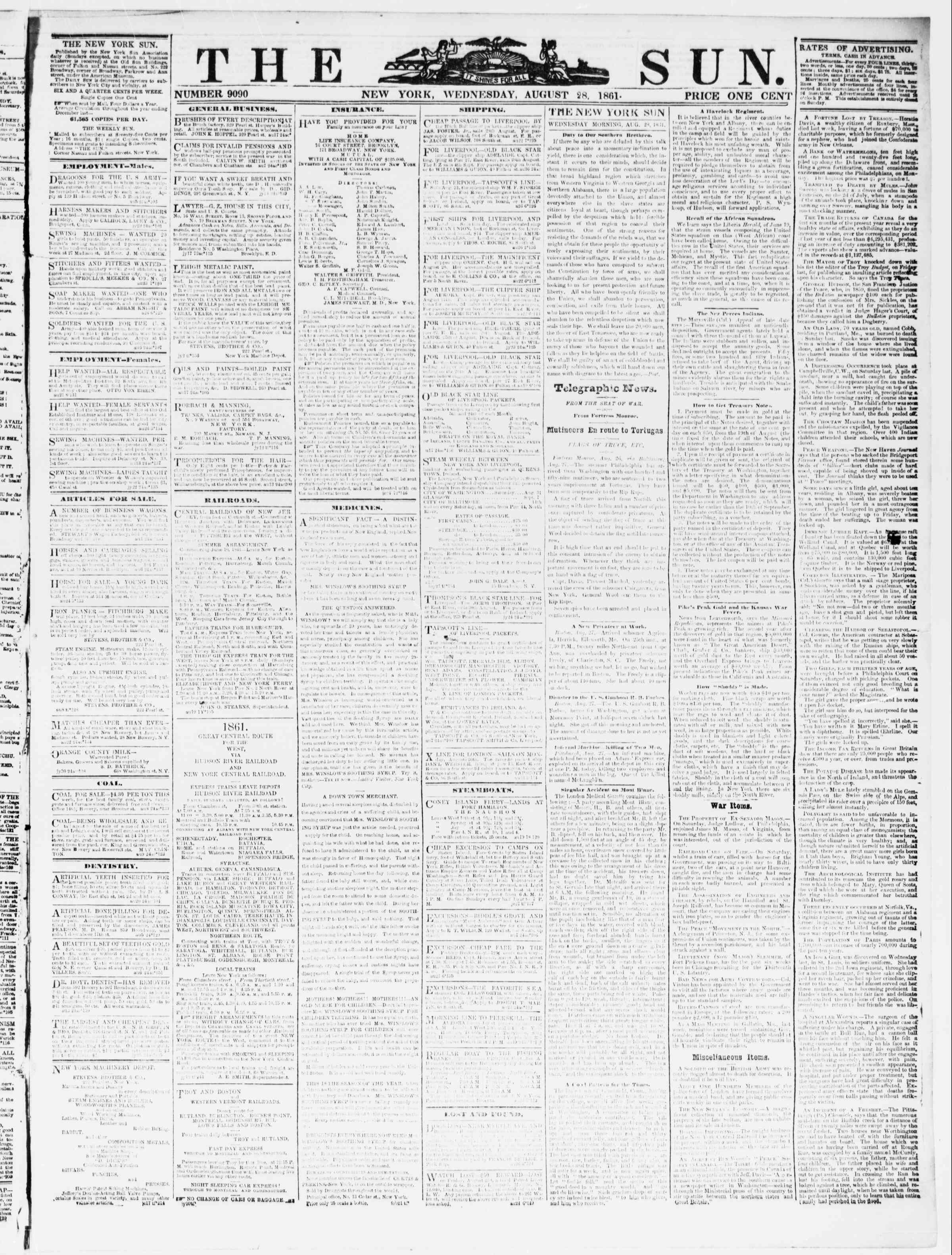 Newspaper of The Sun dated August 28, 1861 Page 1