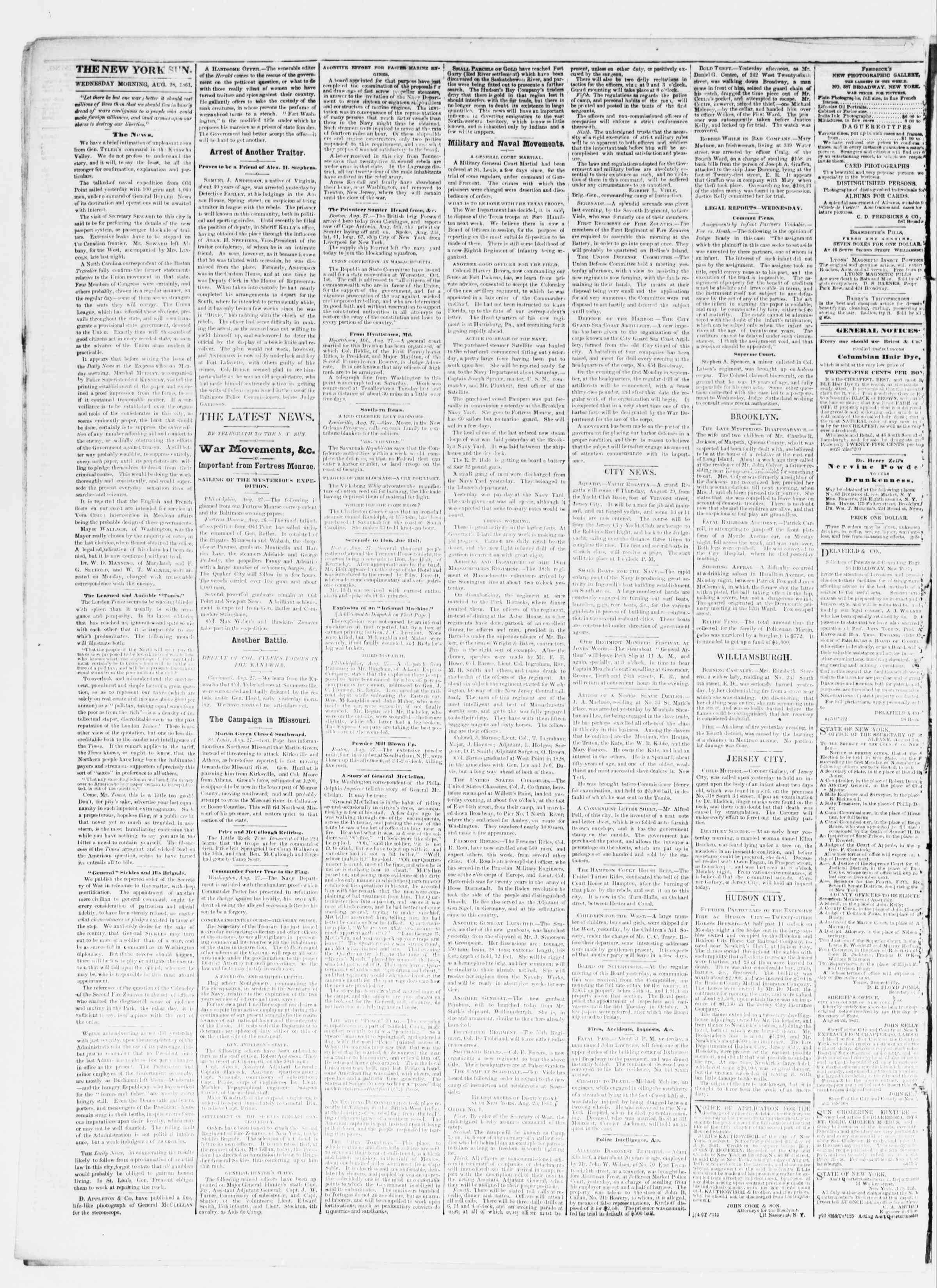 Newspaper of The Sun dated August 28, 1861 Page 2
