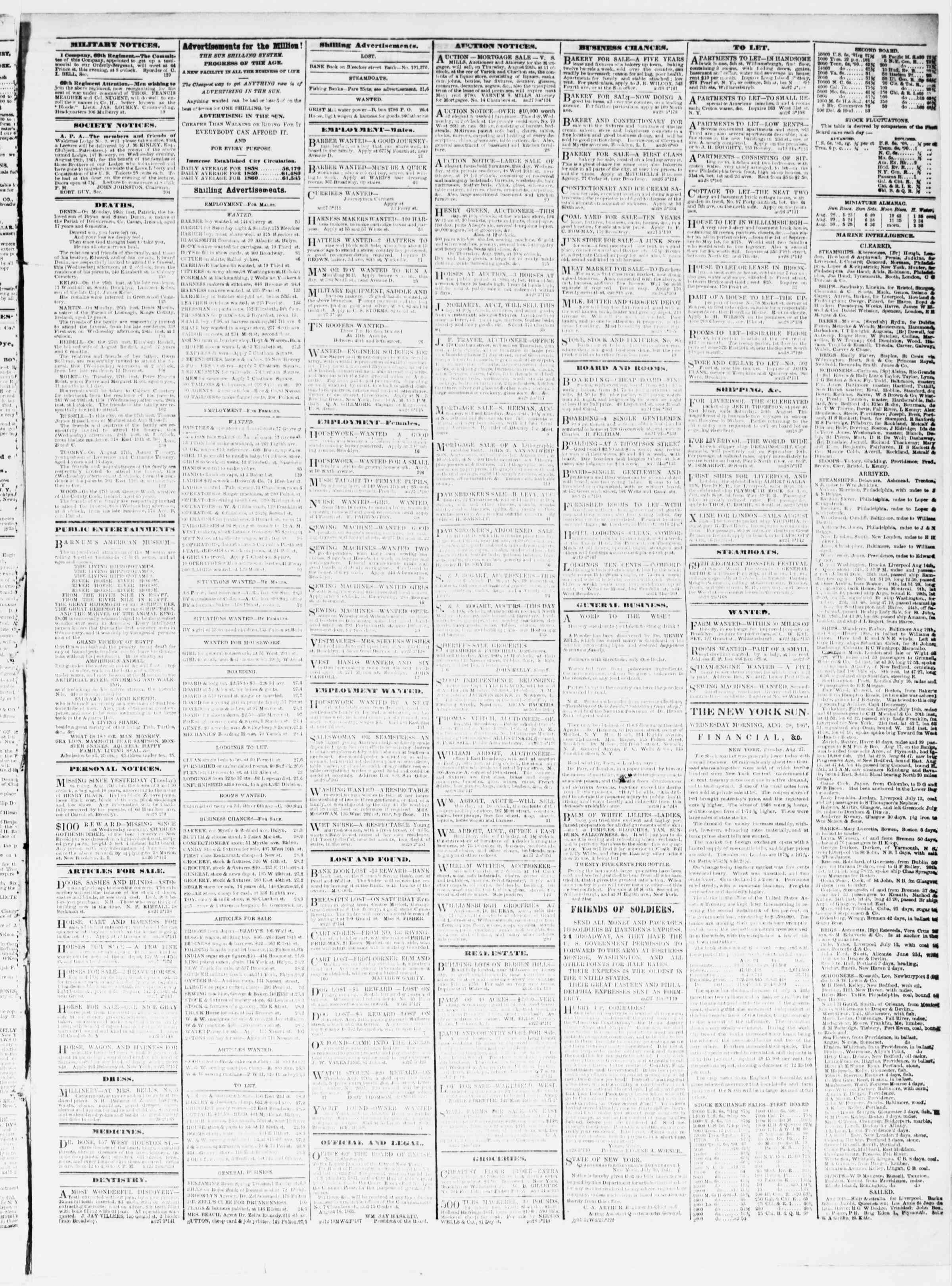 Newspaper of The Sun dated August 28, 1861 Page 3
