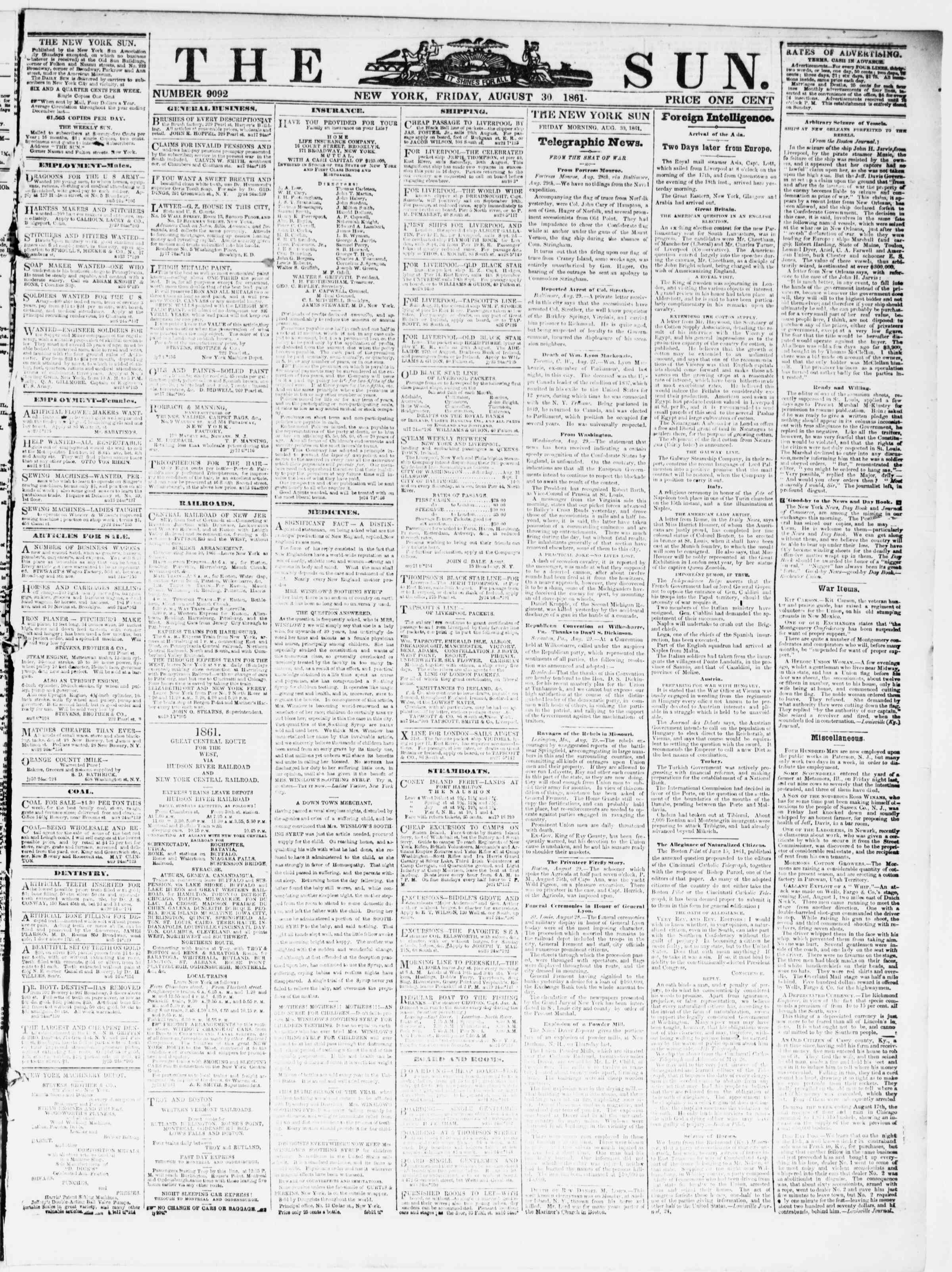 Newspaper of The Sun dated August 30, 1861 Page 1