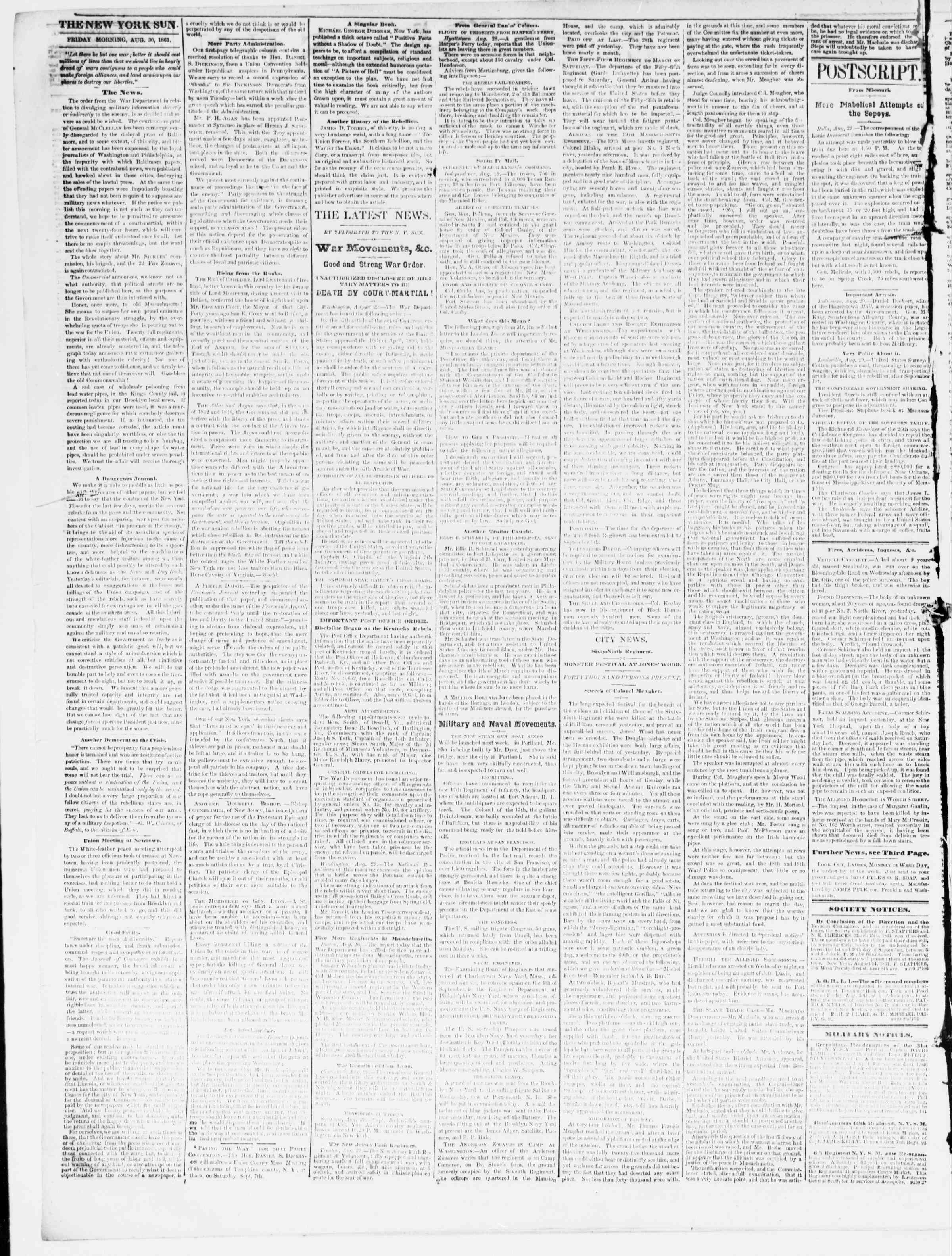 Newspaper of The Sun dated August 30, 1861 Page 2