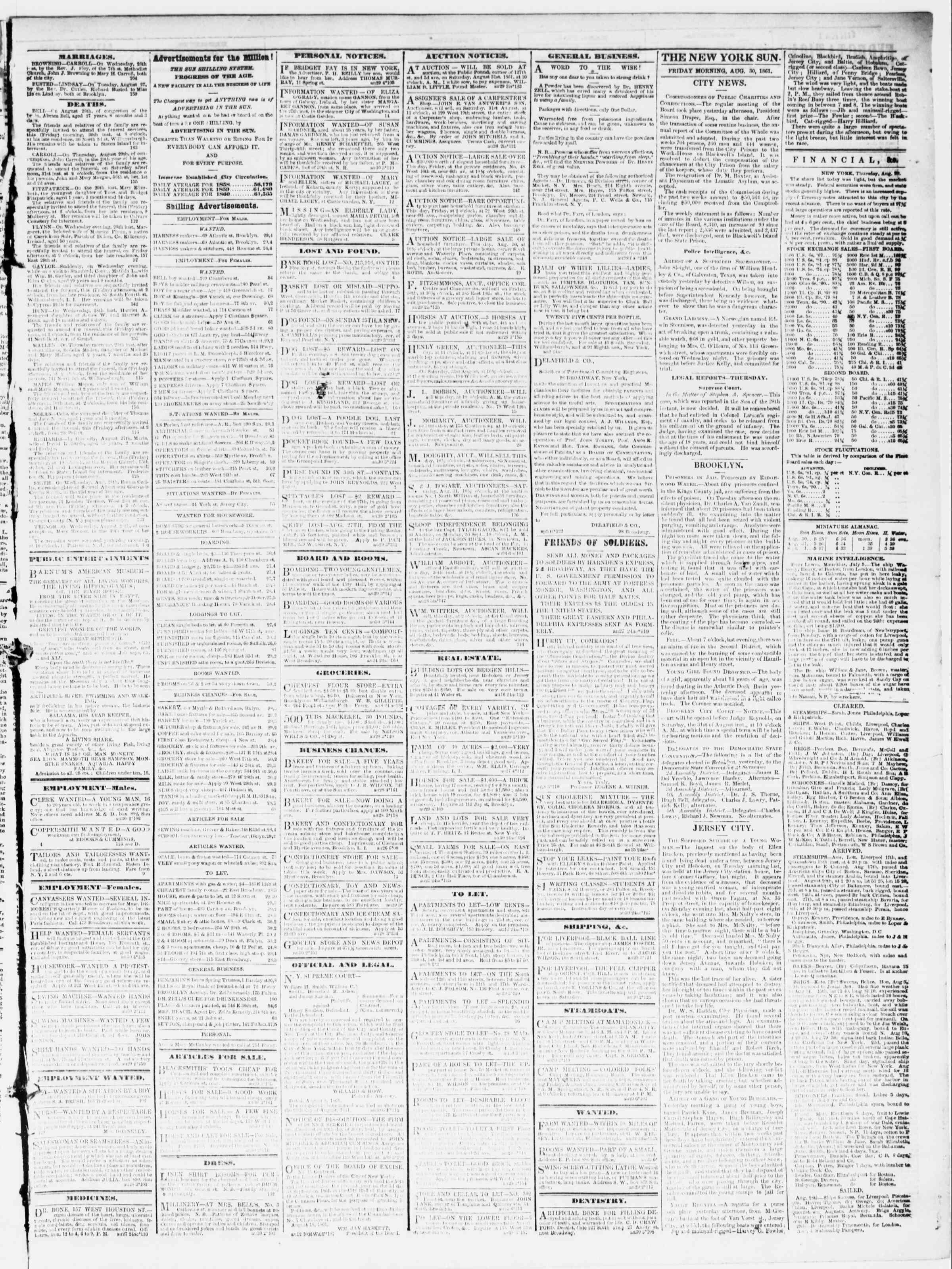 30 Ağustos 1861 tarihli The Sun Gazetesi Sayfa 3