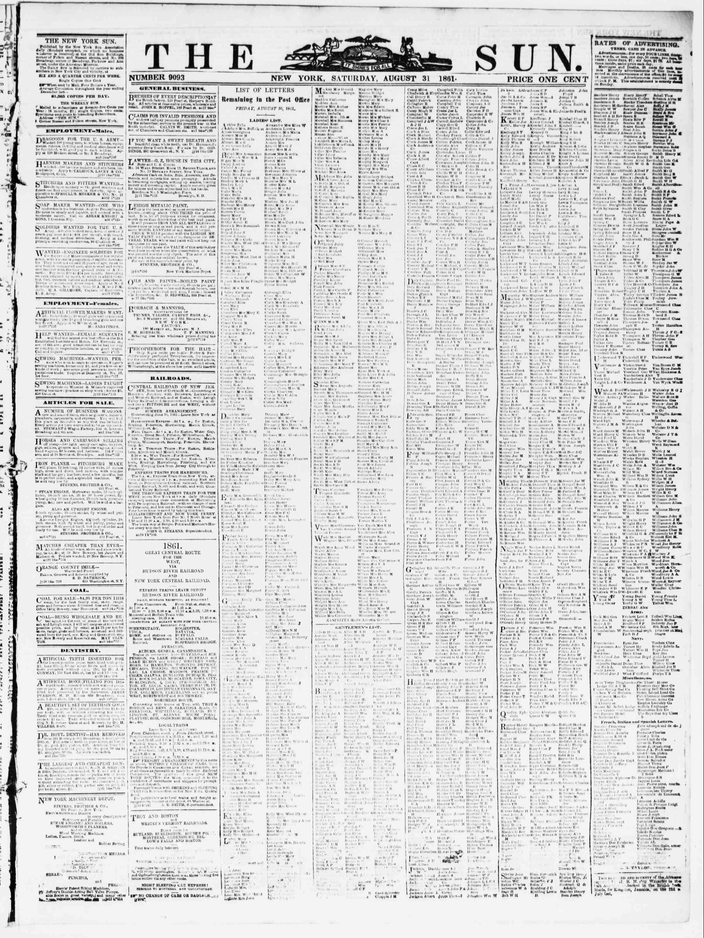 Newspaper of The Sun dated August 31, 1861 Page 1