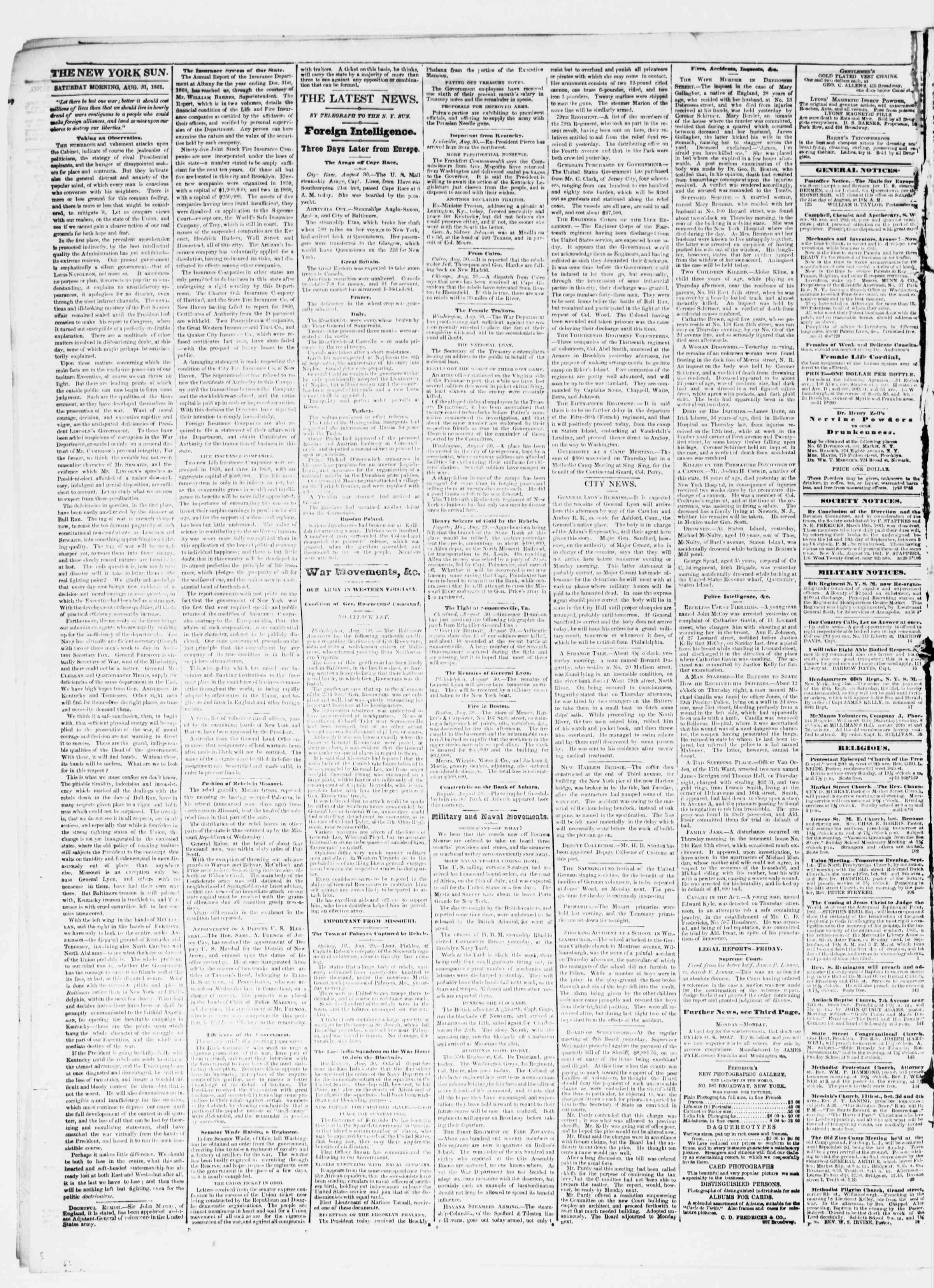 Newspaper of The Sun dated August 31, 1861 Page 2