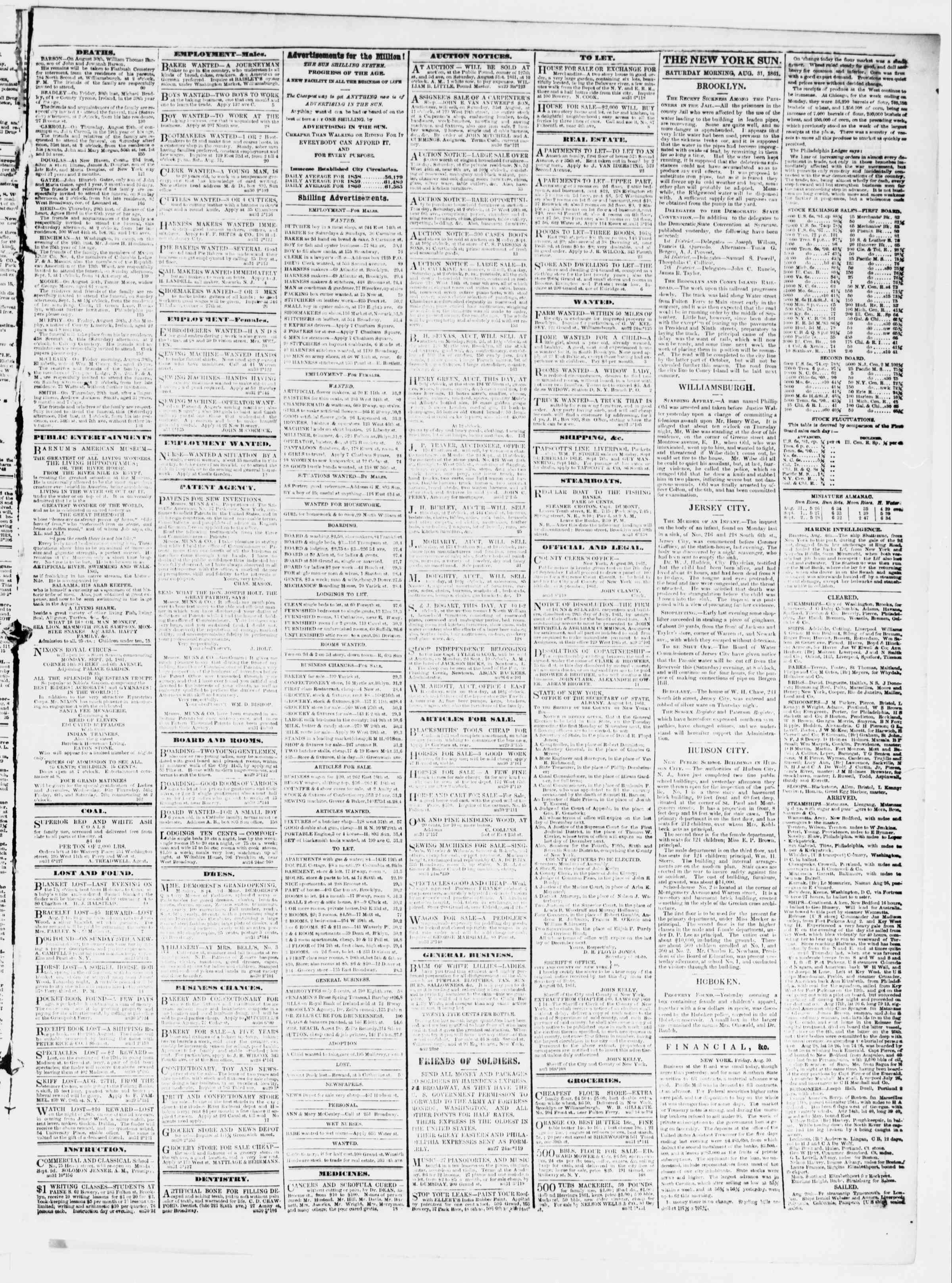 Newspaper of The Sun dated August 31, 1861 Page 3