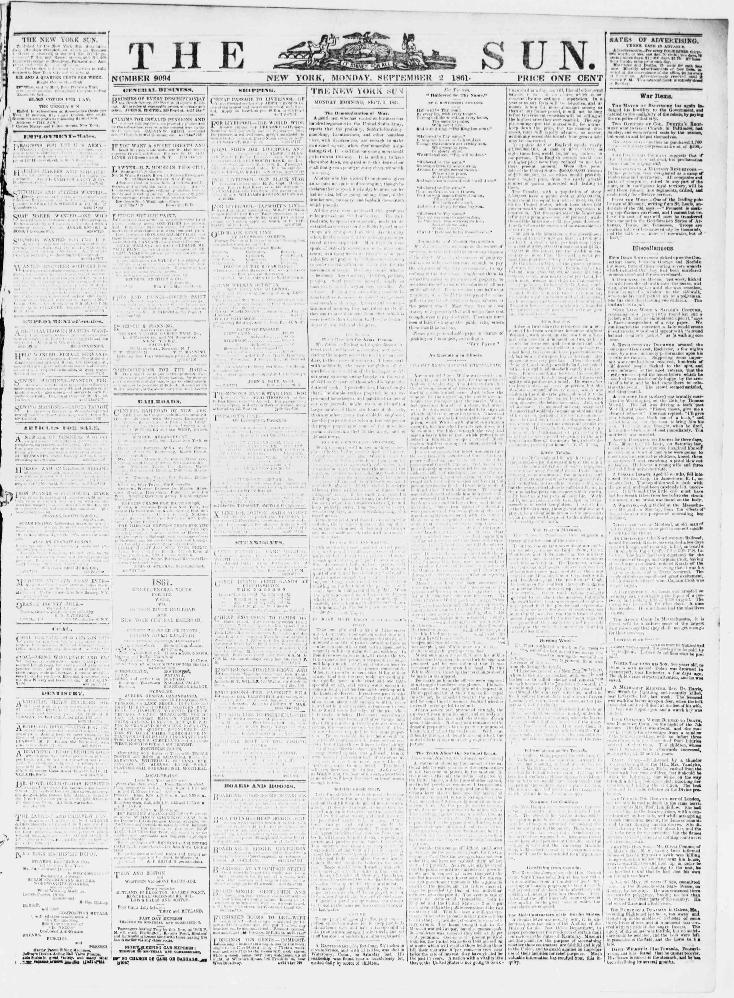 Newspaper of The Sun dated September 2, 1861 Page 1