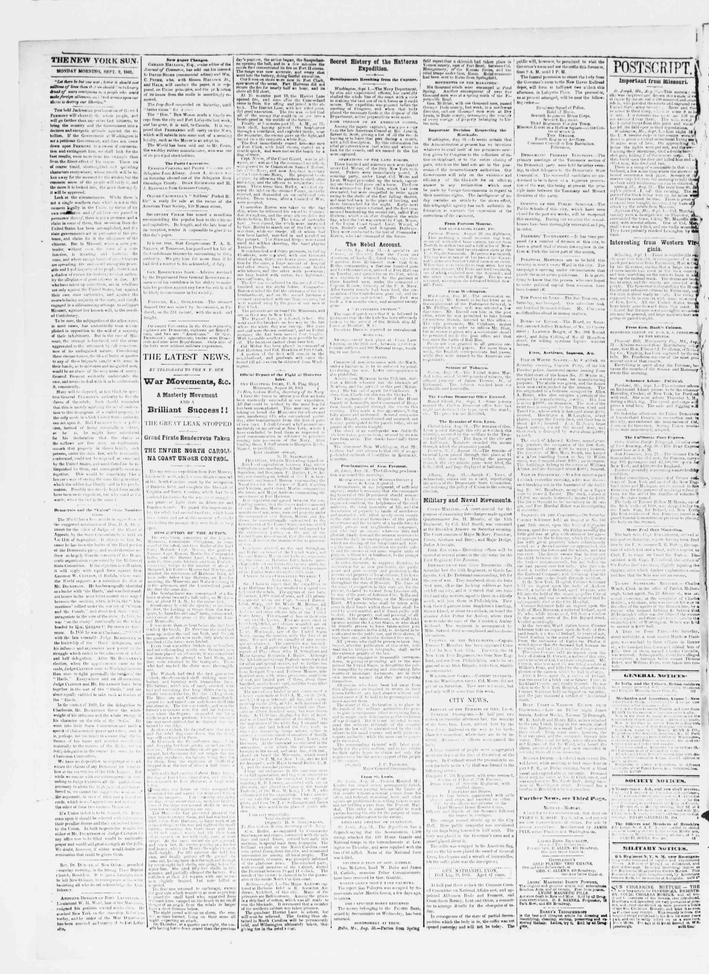 Newspaper of The Sun dated September 2, 1861 Page 2