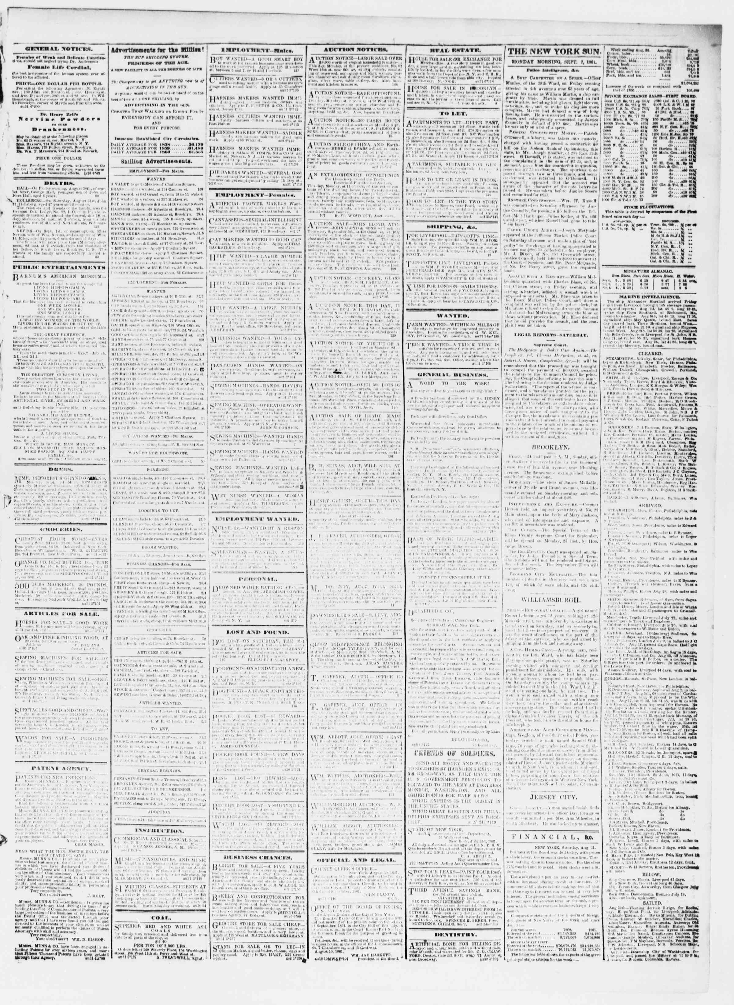 Newspaper of The Sun dated September 2, 1861 Page 3