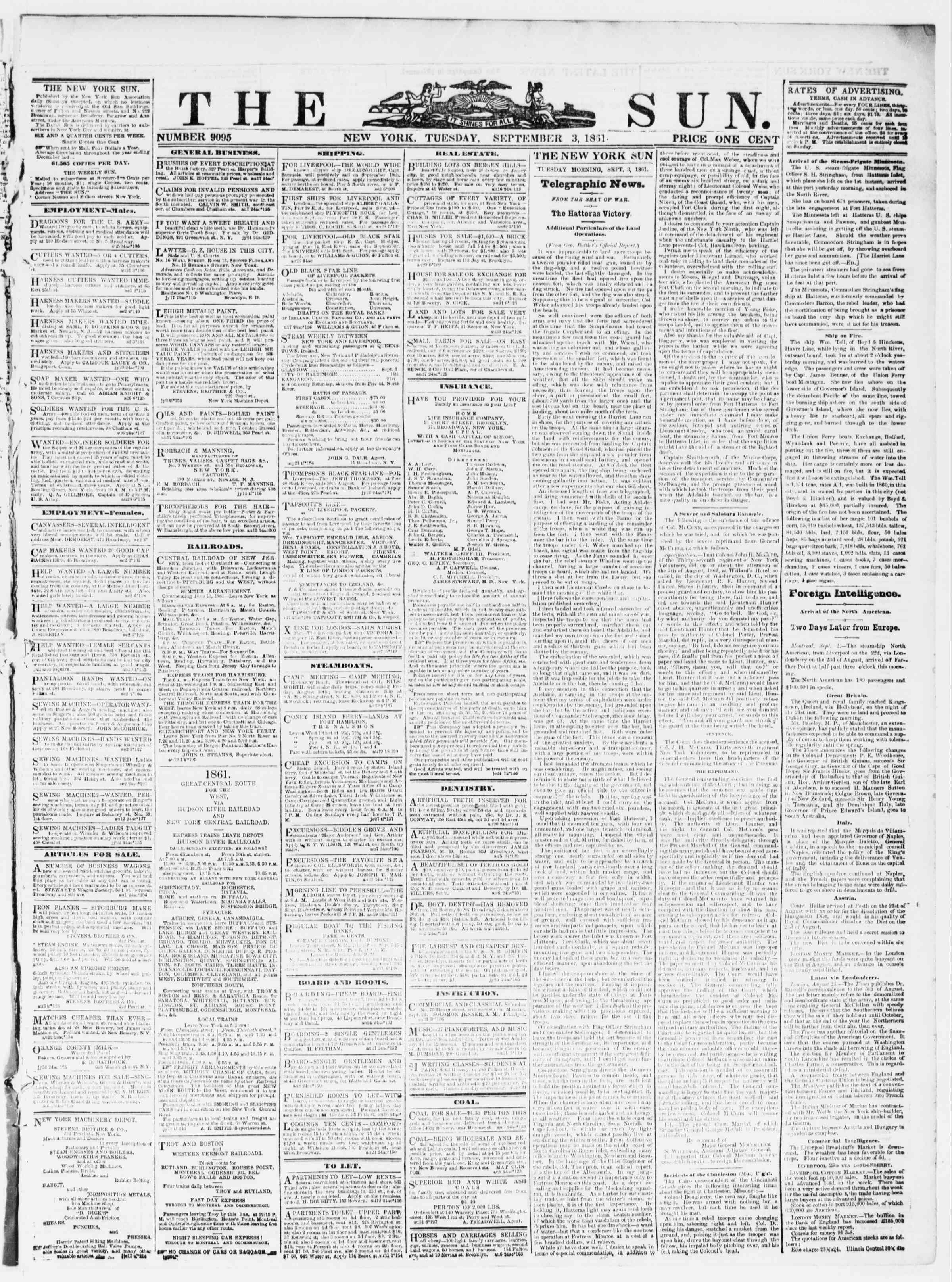 Newspaper of The Sun dated September 3, 1861 Page 1