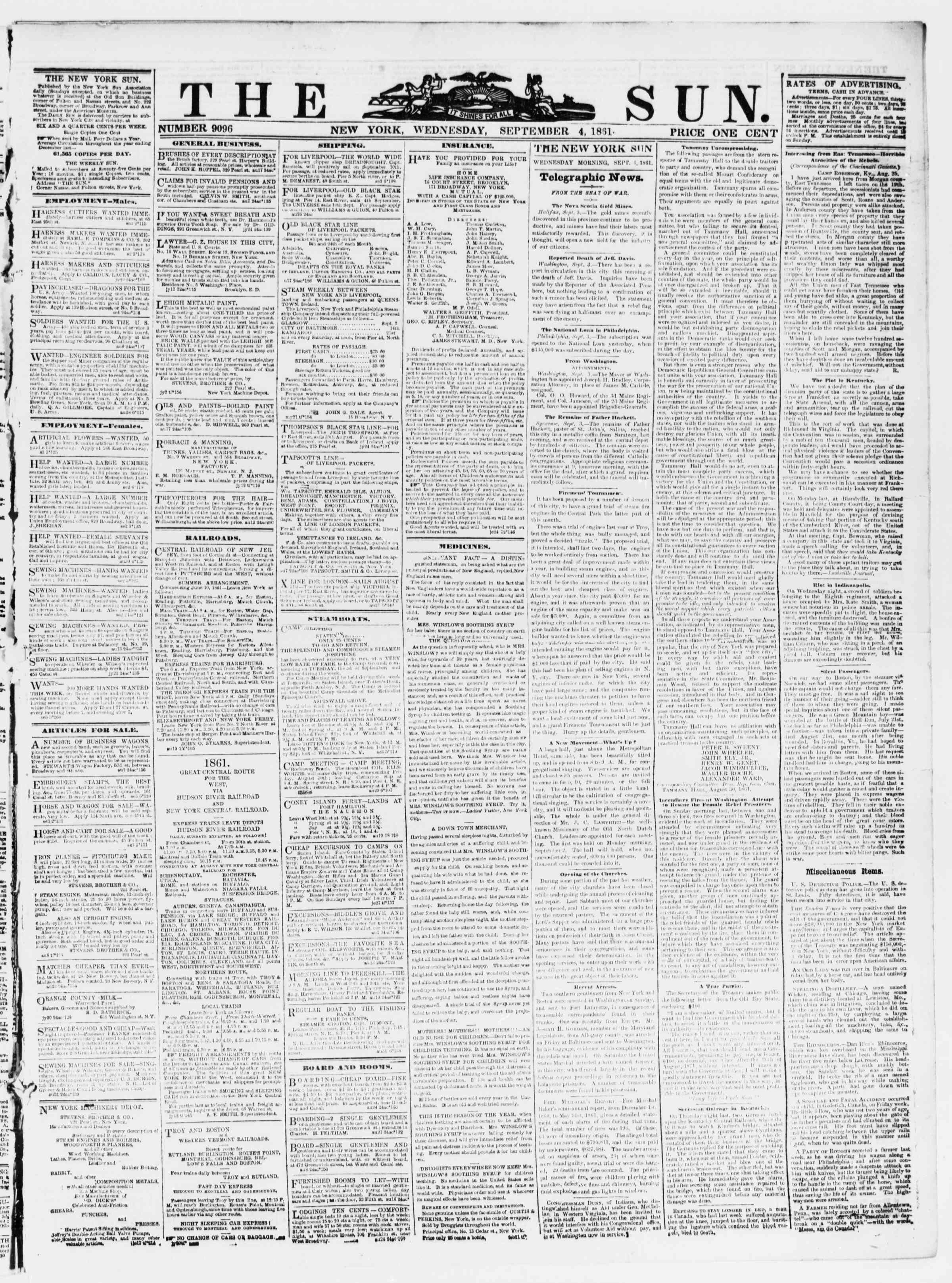 Newspaper of The Sun dated September 4, 1861 Page 1