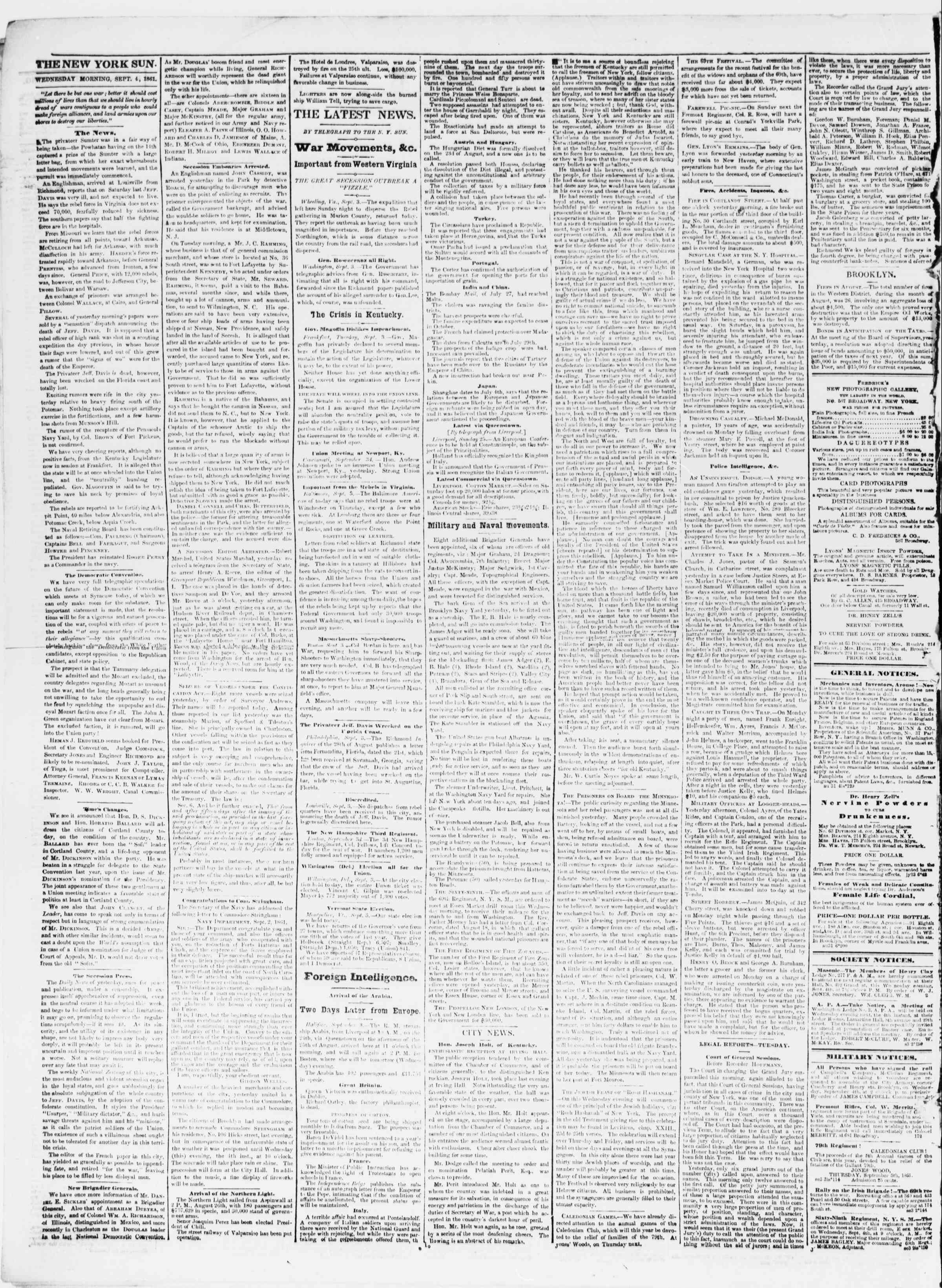 Newspaper of The Sun dated September 4, 1861 Page 2