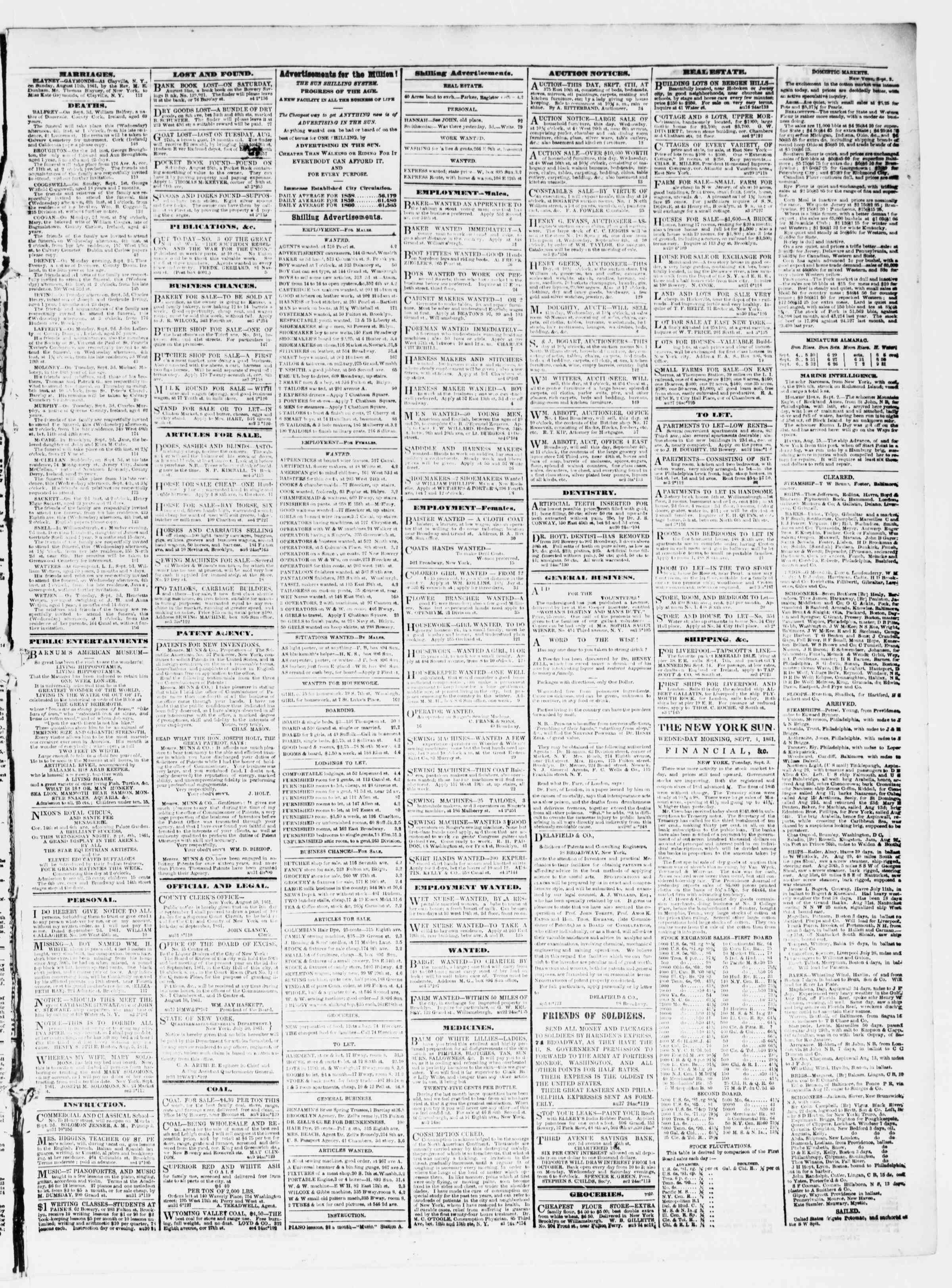 Newspaper of The Sun dated September 4, 1861 Page 3
