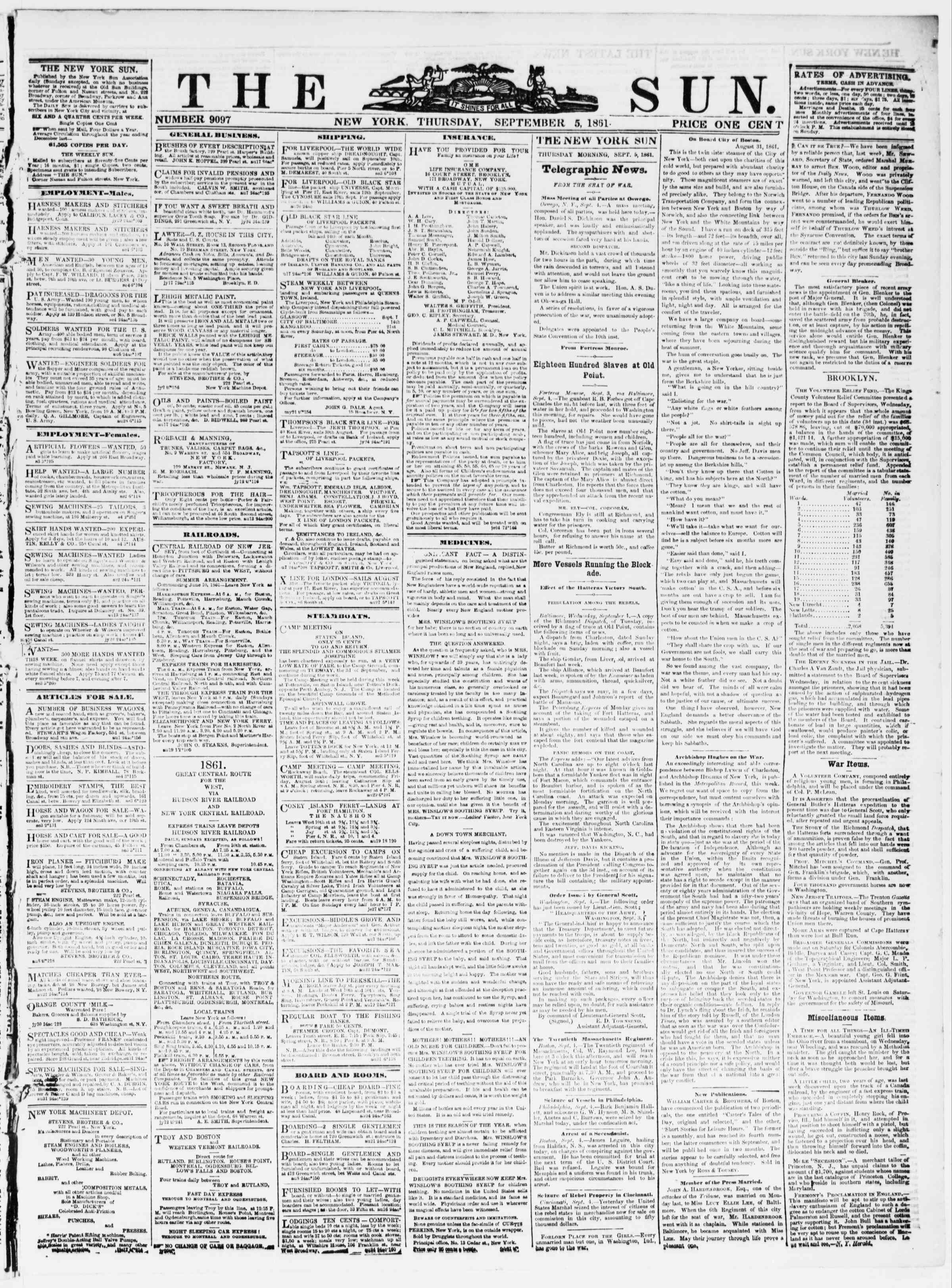 Newspaper of The Sun dated September 5, 1861 Page 1