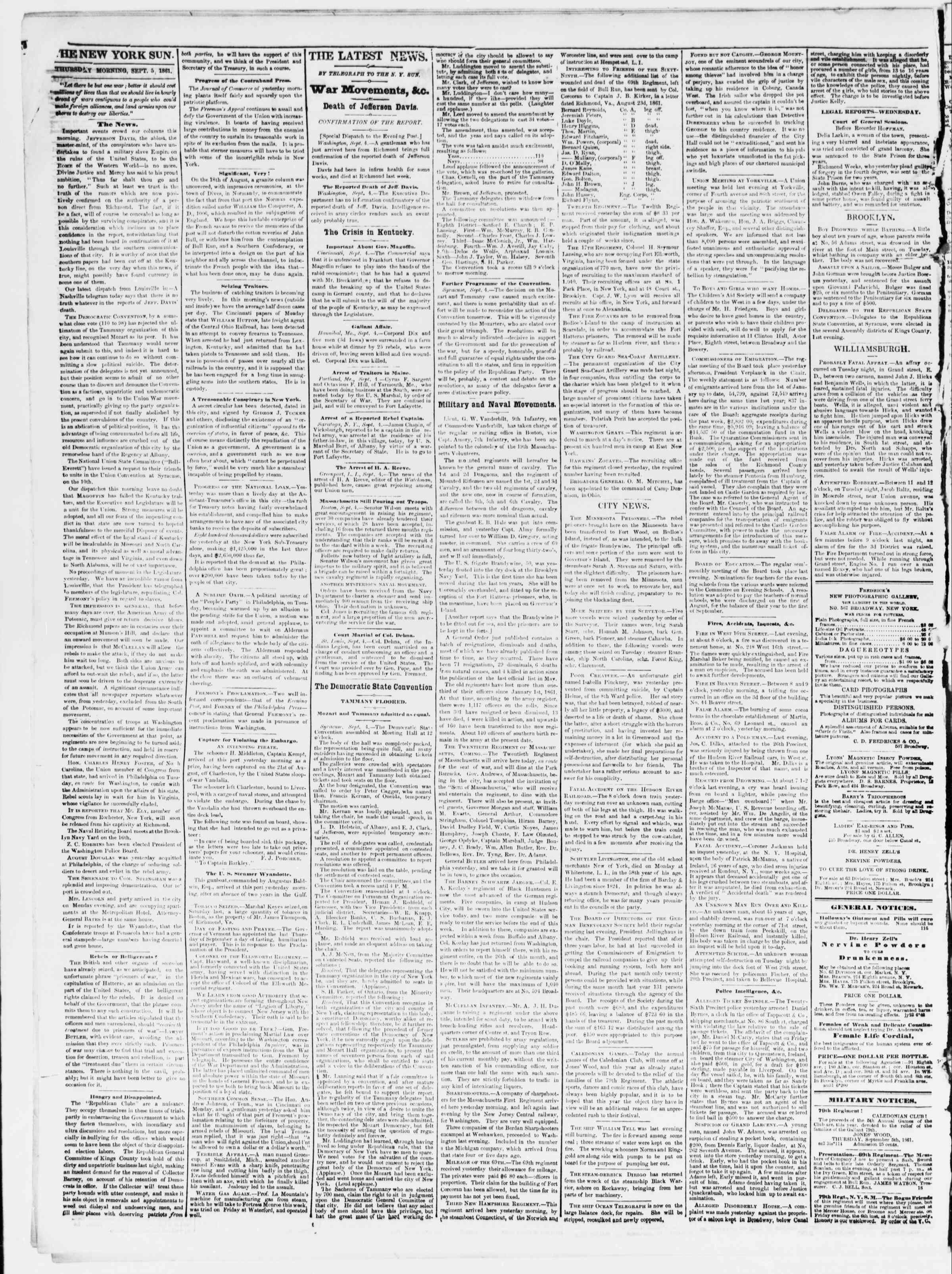 Newspaper of The Sun dated September 5, 1861 Page 2