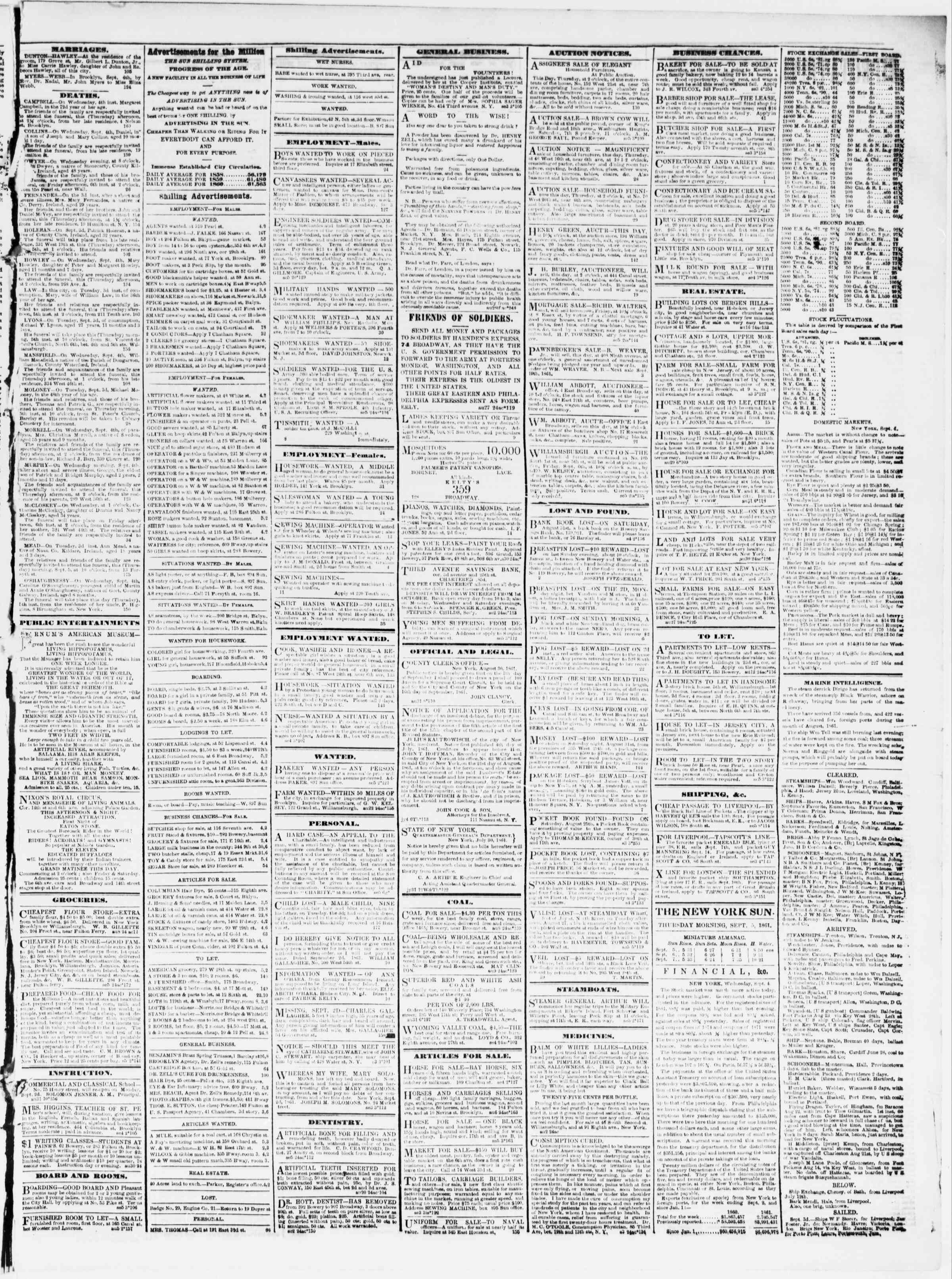 Newspaper of The Sun dated September 5, 1861 Page 3