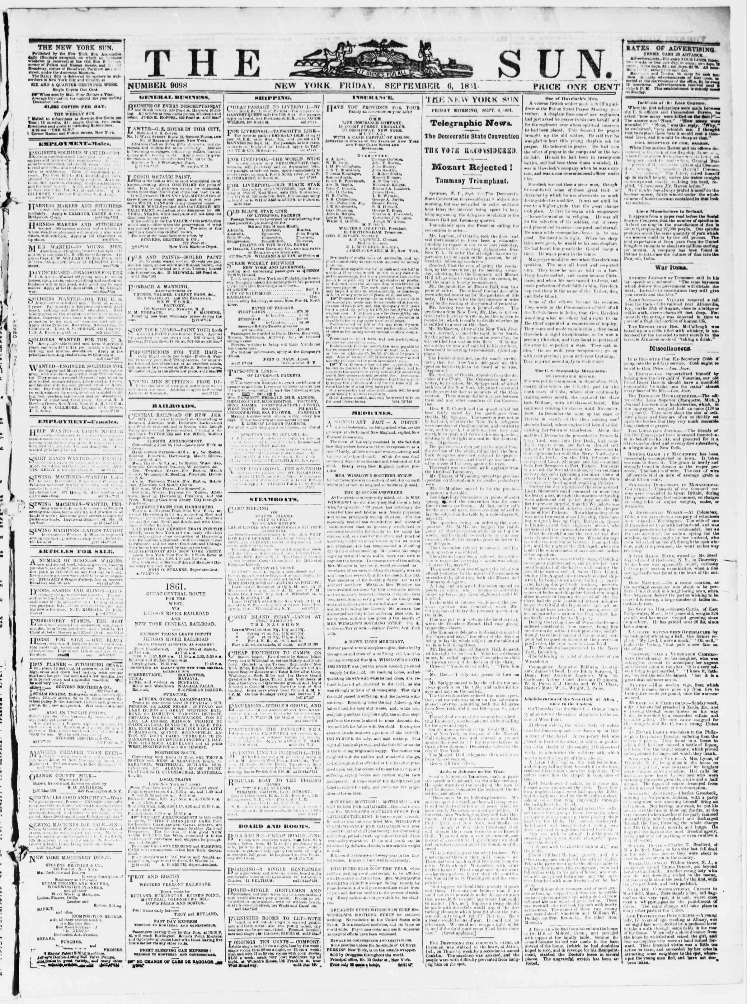 Newspaper of The Sun dated September 6, 1861 Page 1