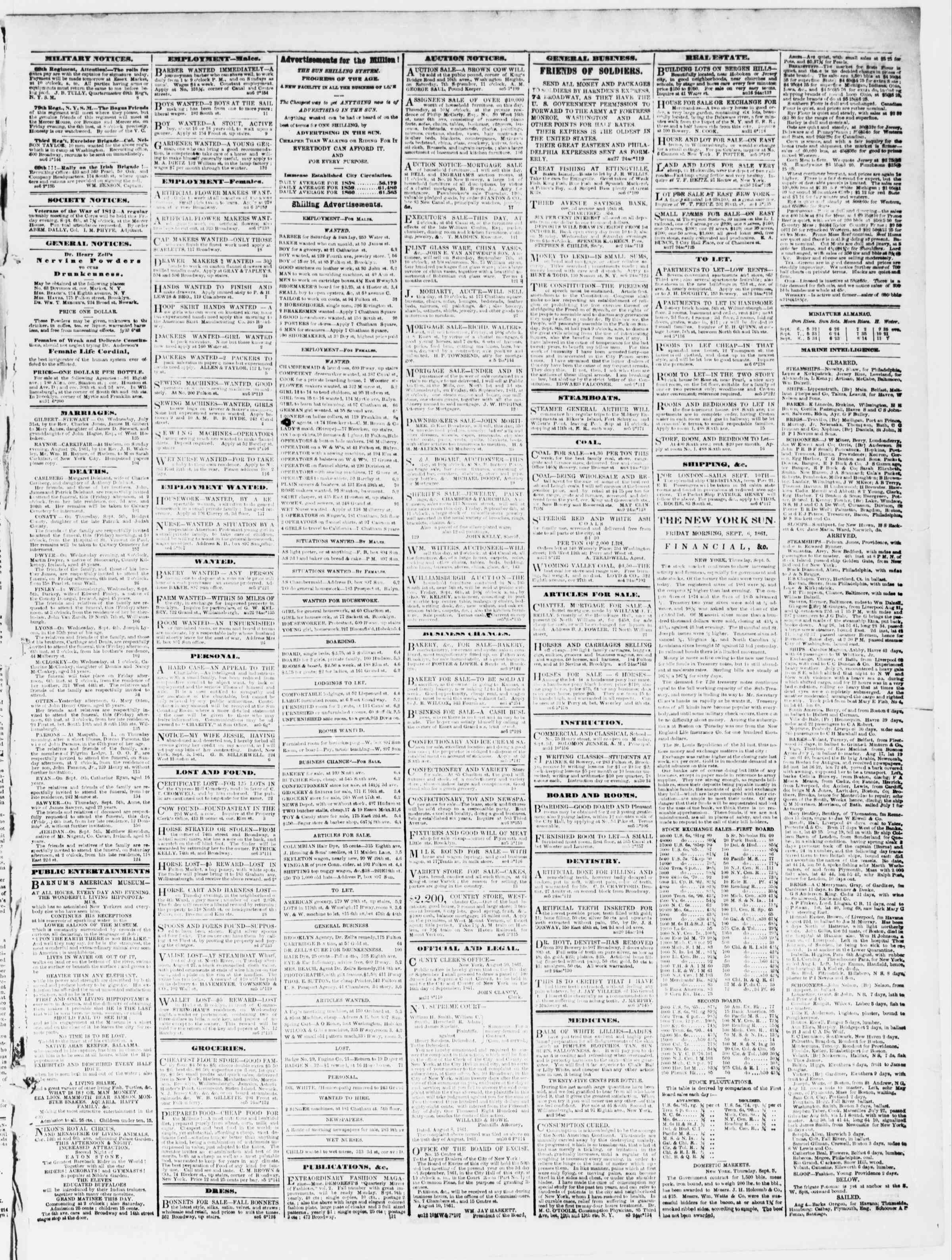 Newspaper of The Sun dated September 6, 1861 Page 3