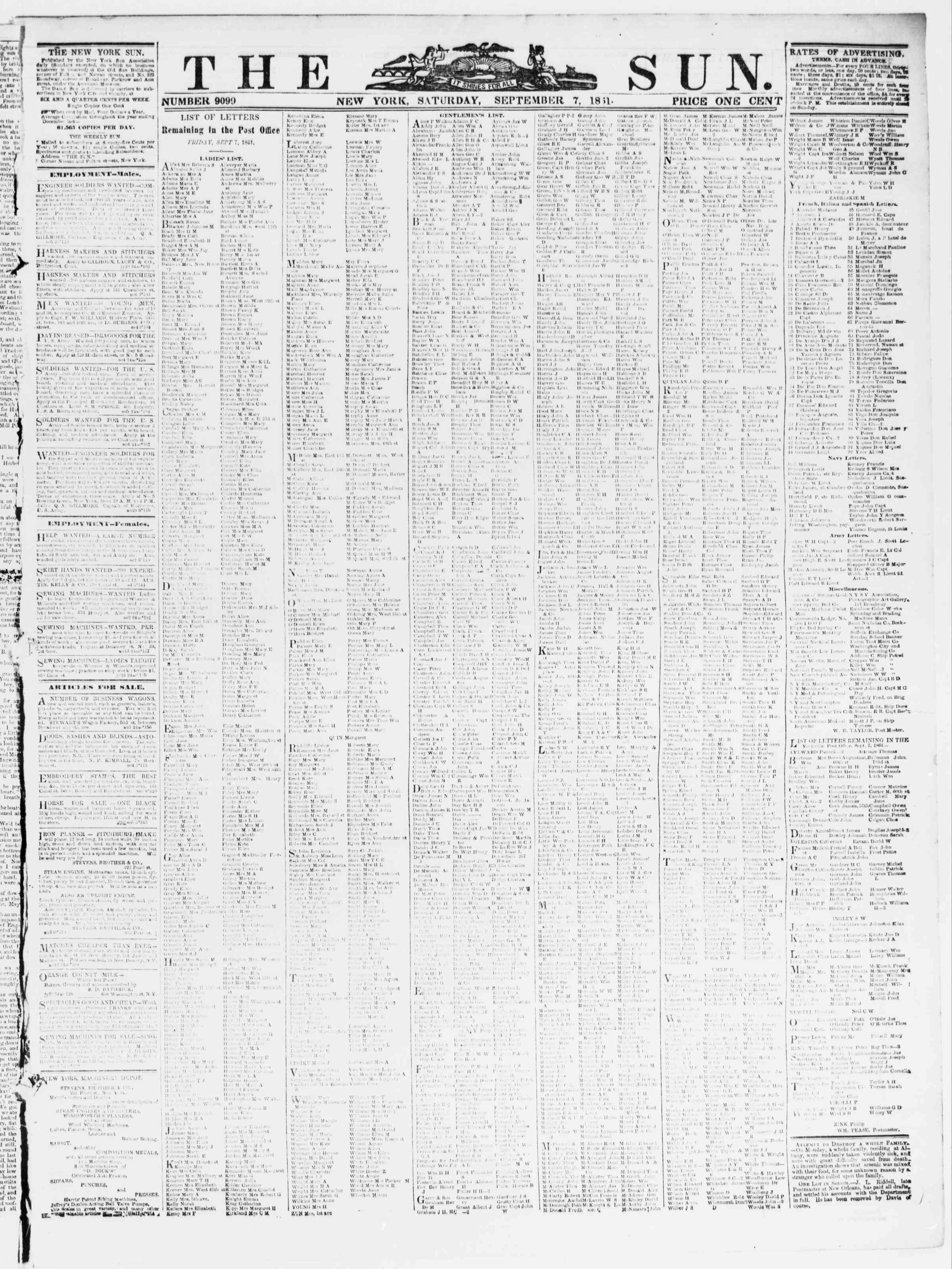Newspaper of The Sun dated September 7, 1861 Page 1