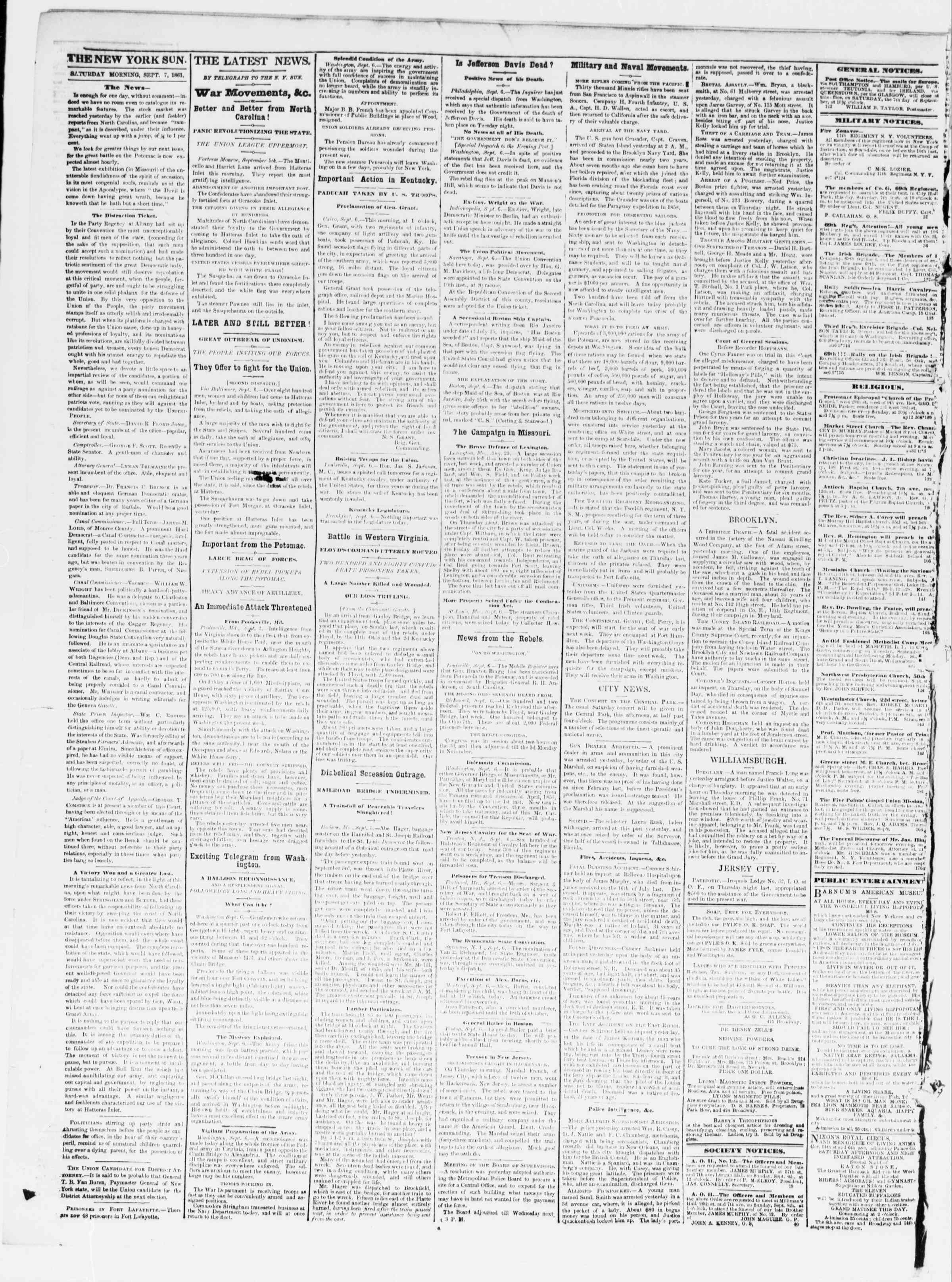 Newspaper of The Sun dated September 7, 1861 Page 2