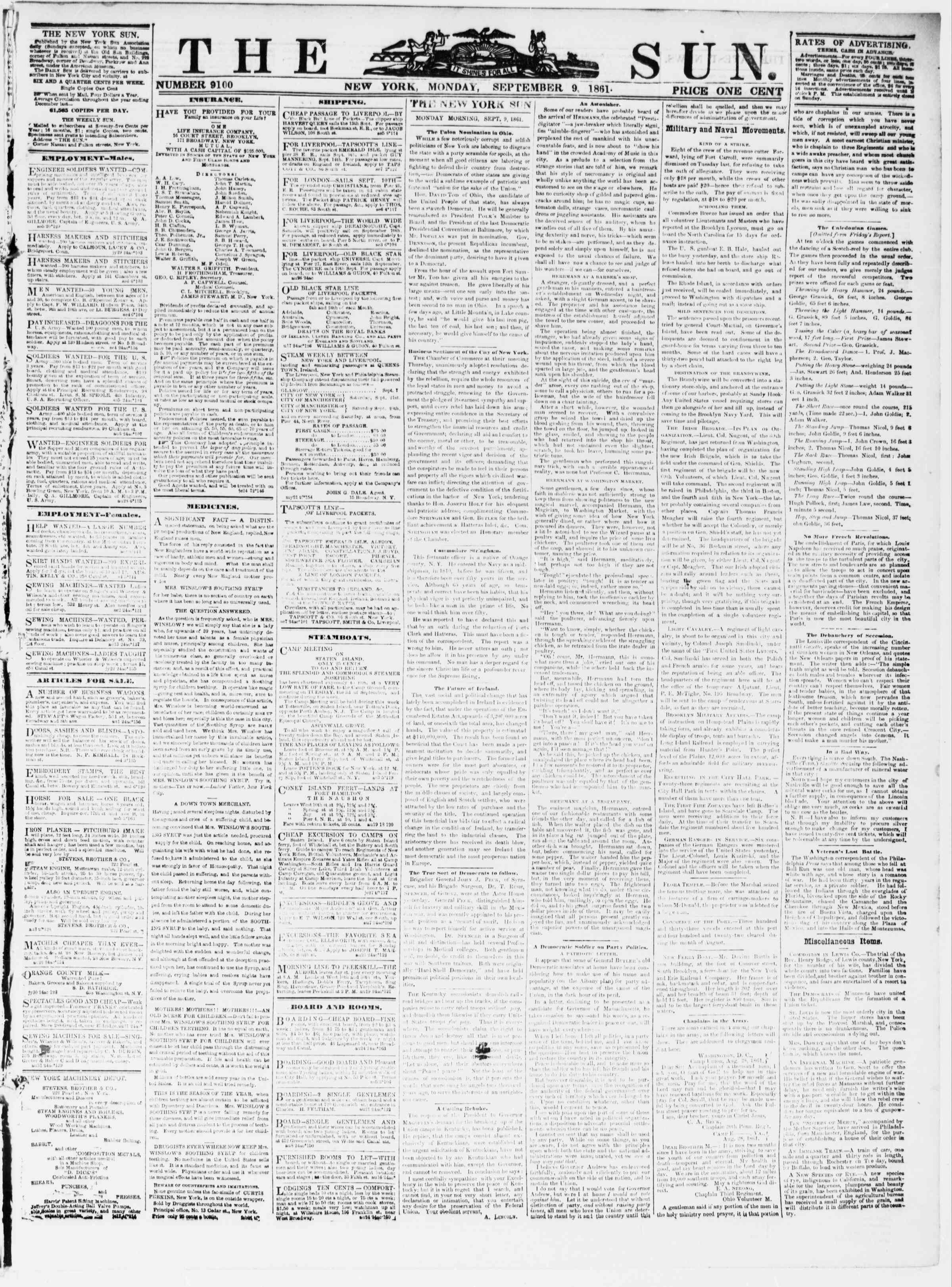 Newspaper of The Sun dated September 9, 1861 Page 1