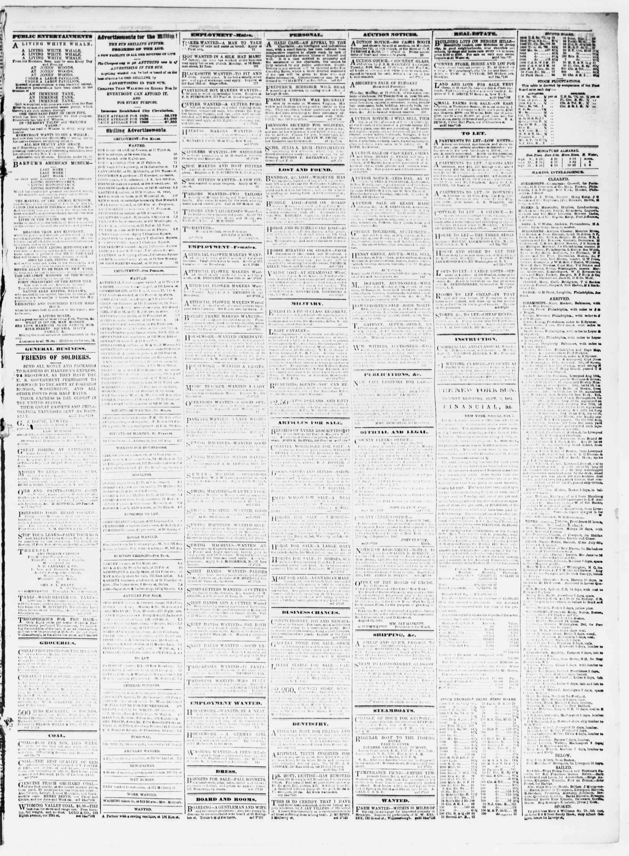 Newspaper of The Sun dated September 9, 1861 Page 3