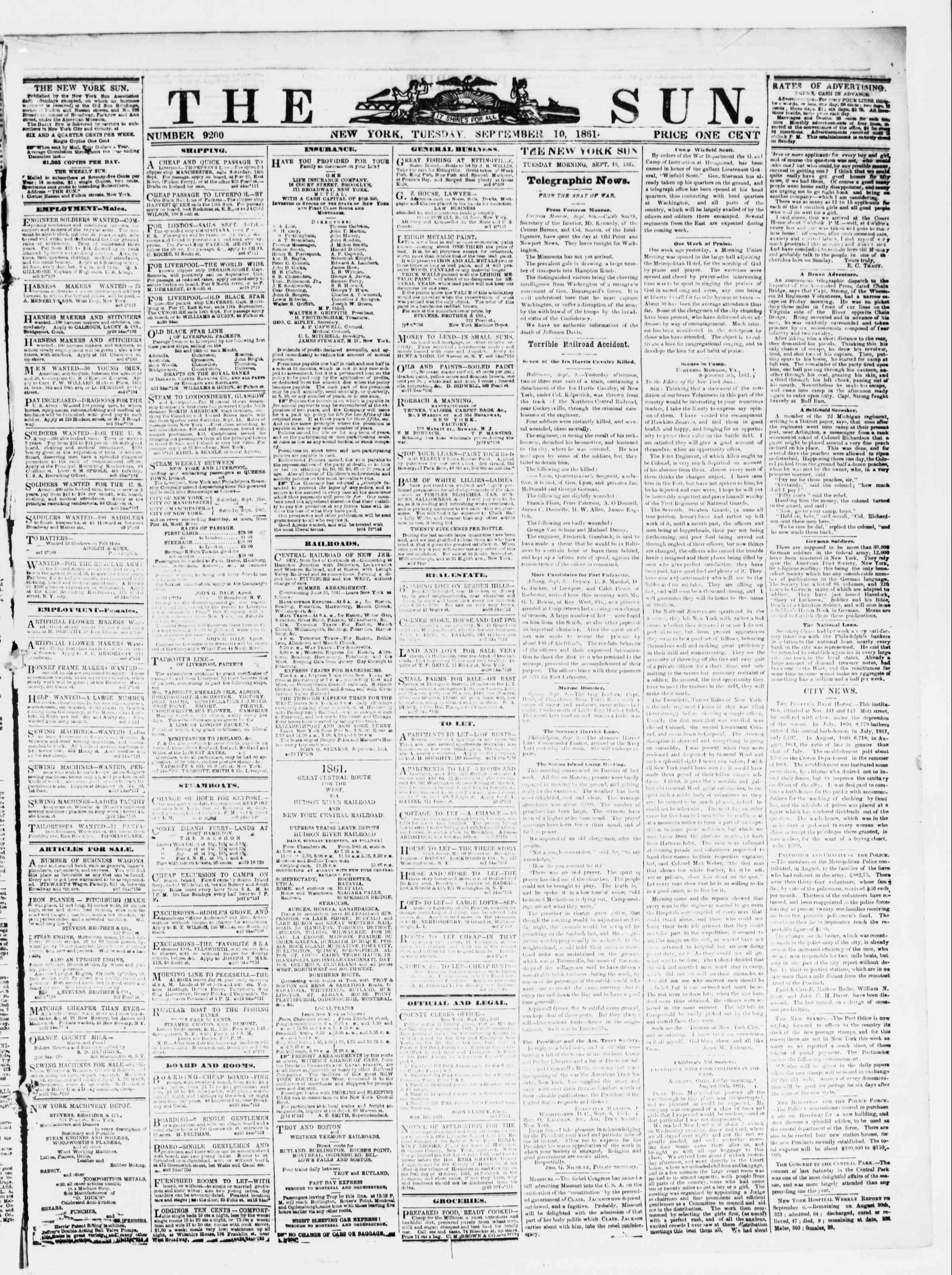 Newspaper of The Sun dated September 10, 1861 Page 1