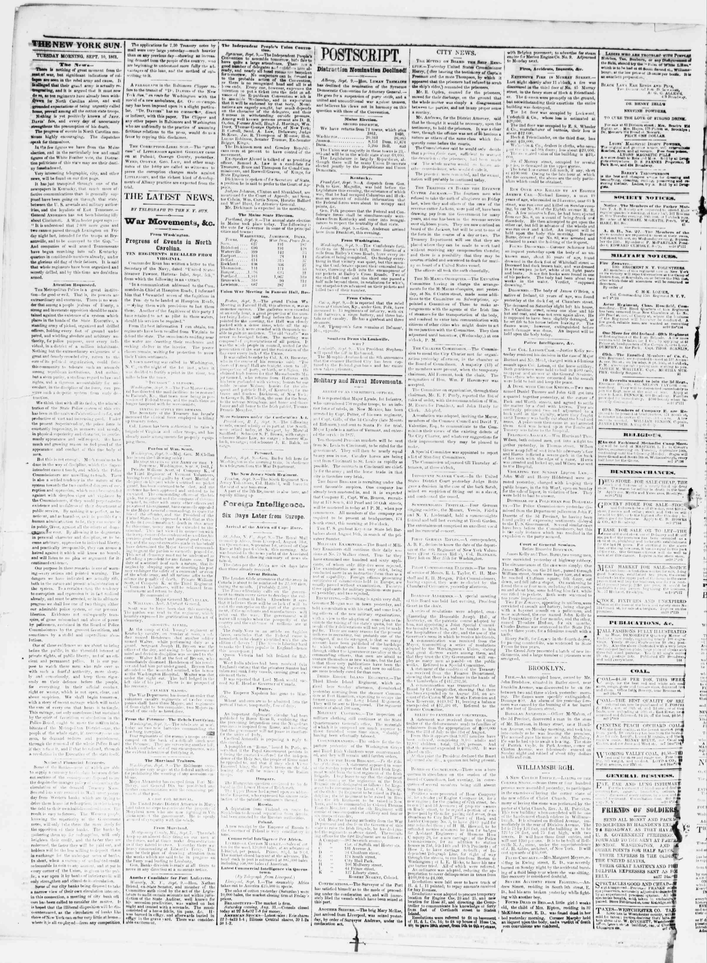 Newspaper of The Sun dated September 10, 1861 Page 2